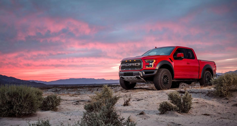 Ford F-150 Raptor at sunset