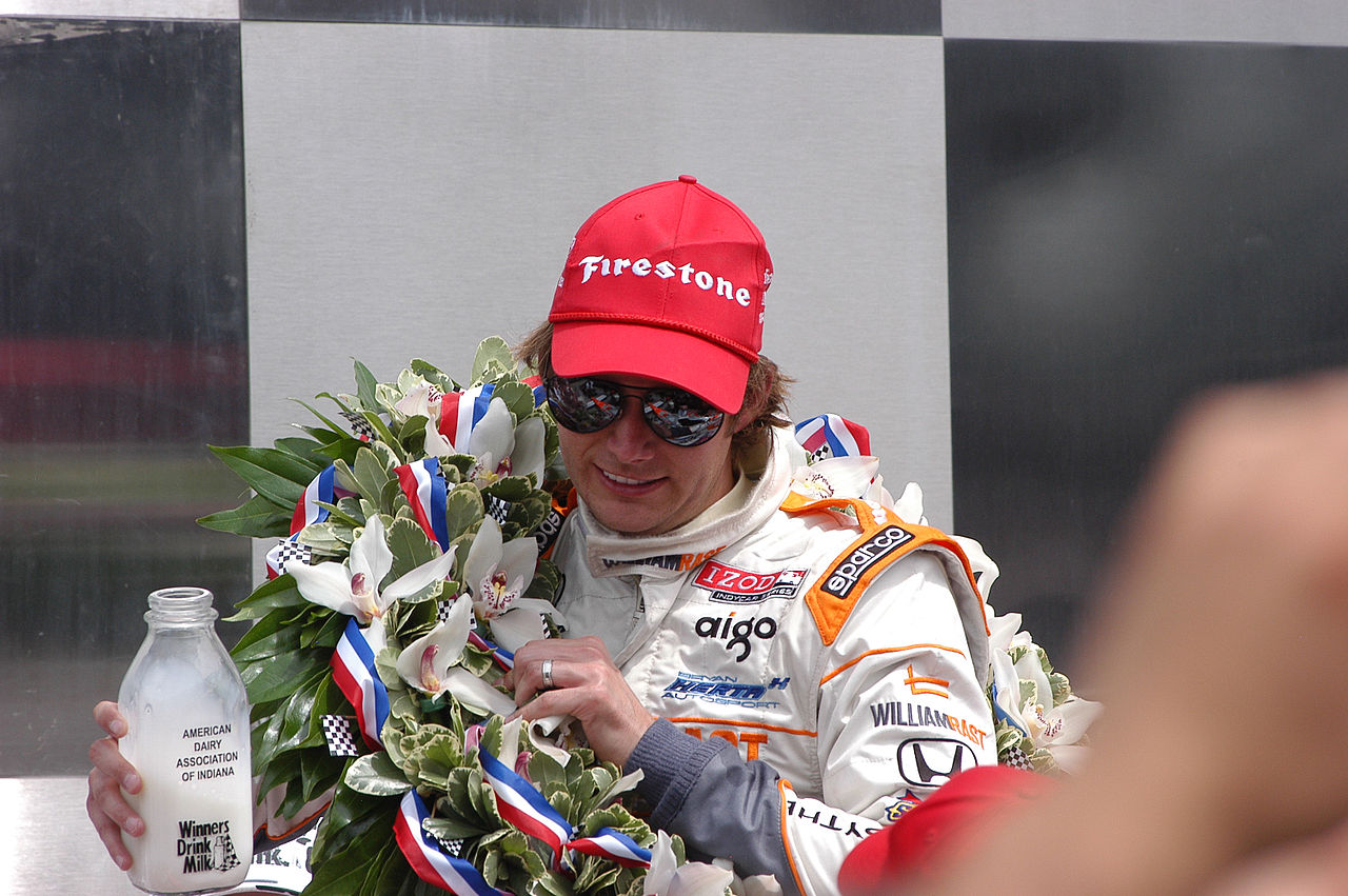 2011 Indy 500 winner Dan Wheldon enjoying his tall glass of milk