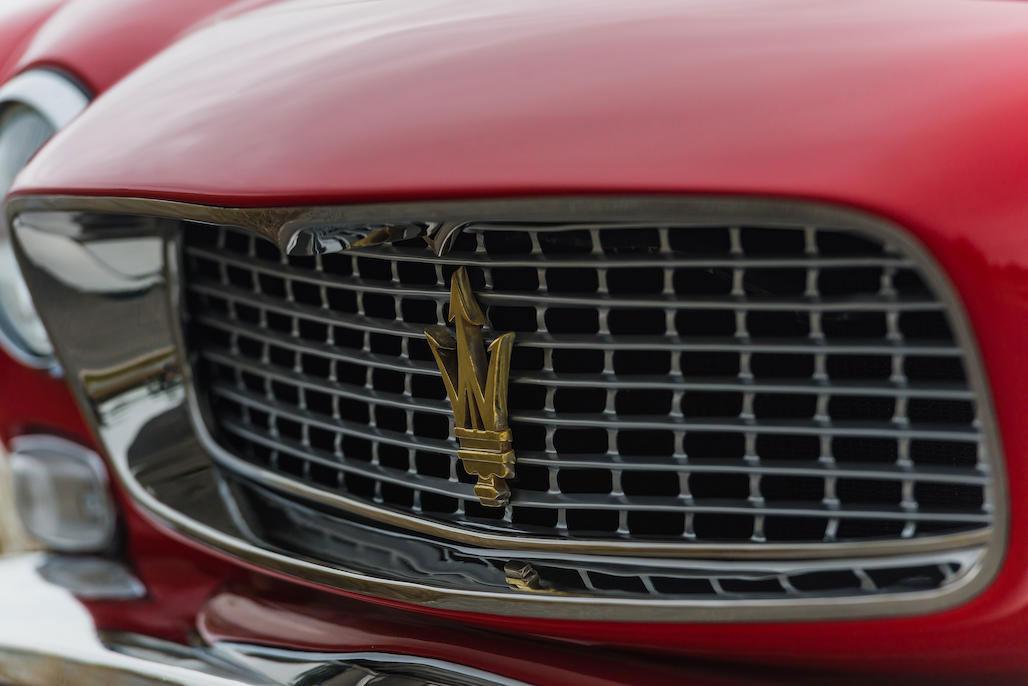 Maserati emblem on 1963 Maserati Sebring 3500GTi grille