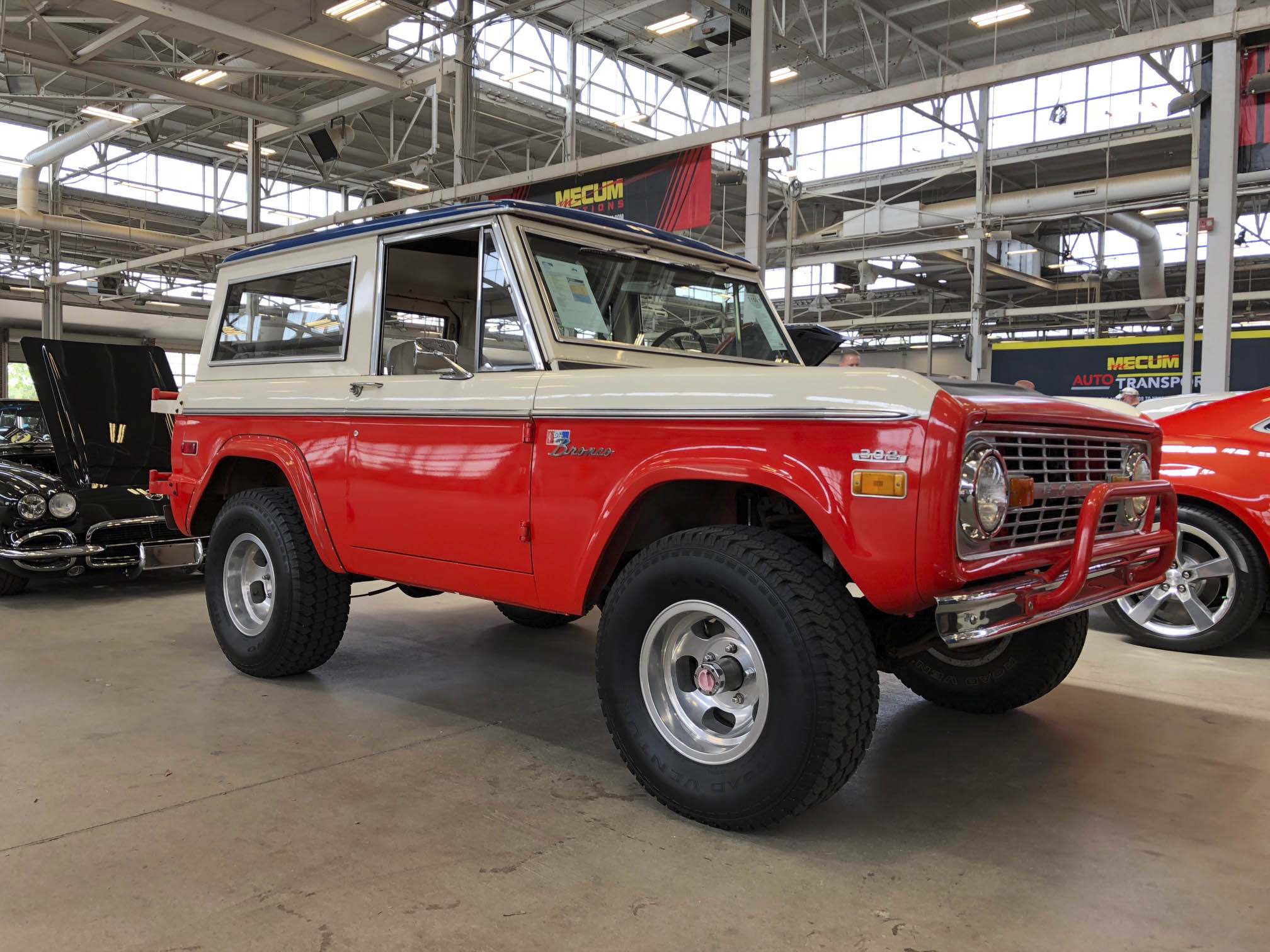 1971 Ford Baja Bronco on the Mecum show floor