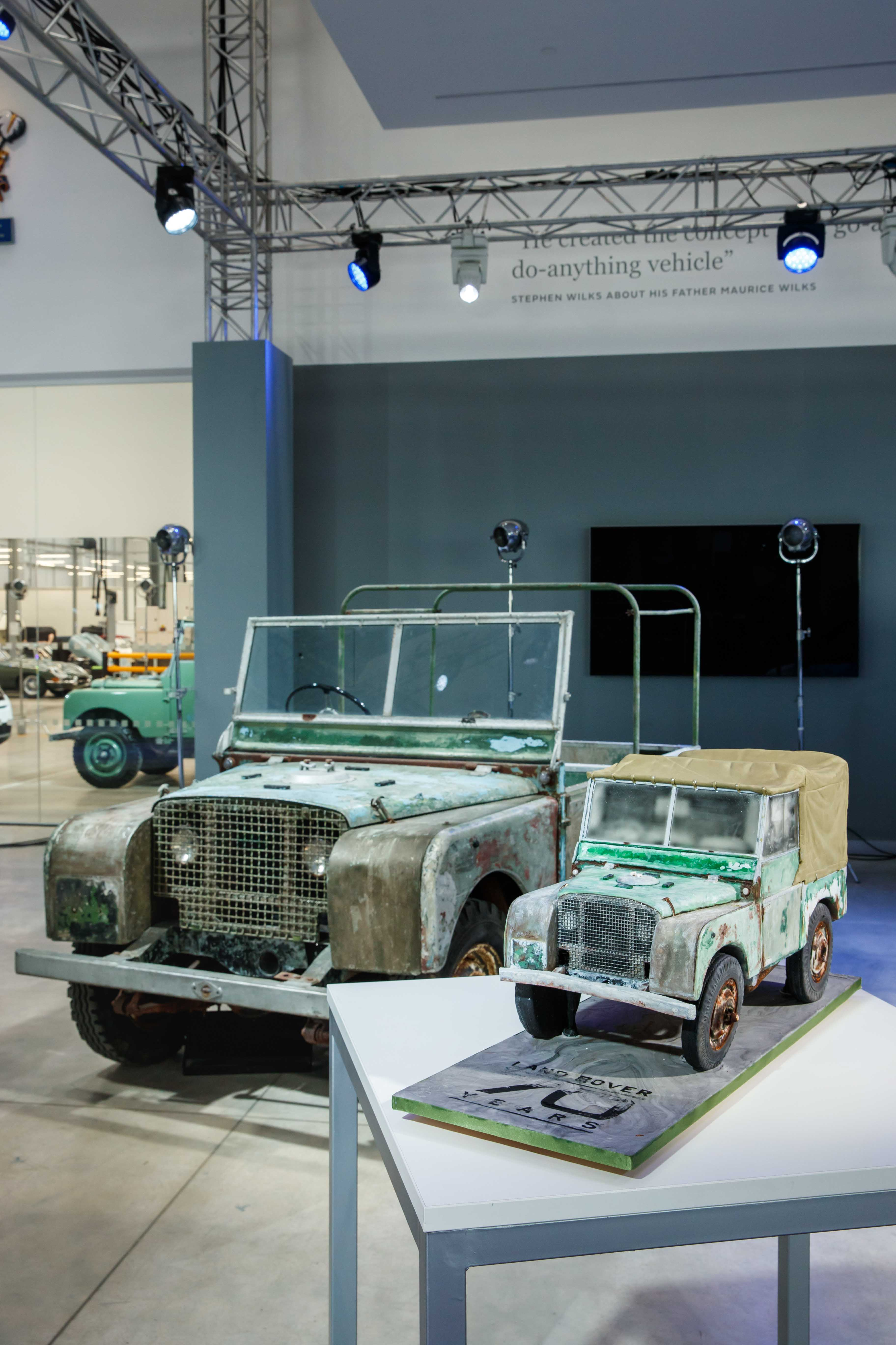 Land Rover prototype and scale model mockup together for the Land Rover 70th Anniversary