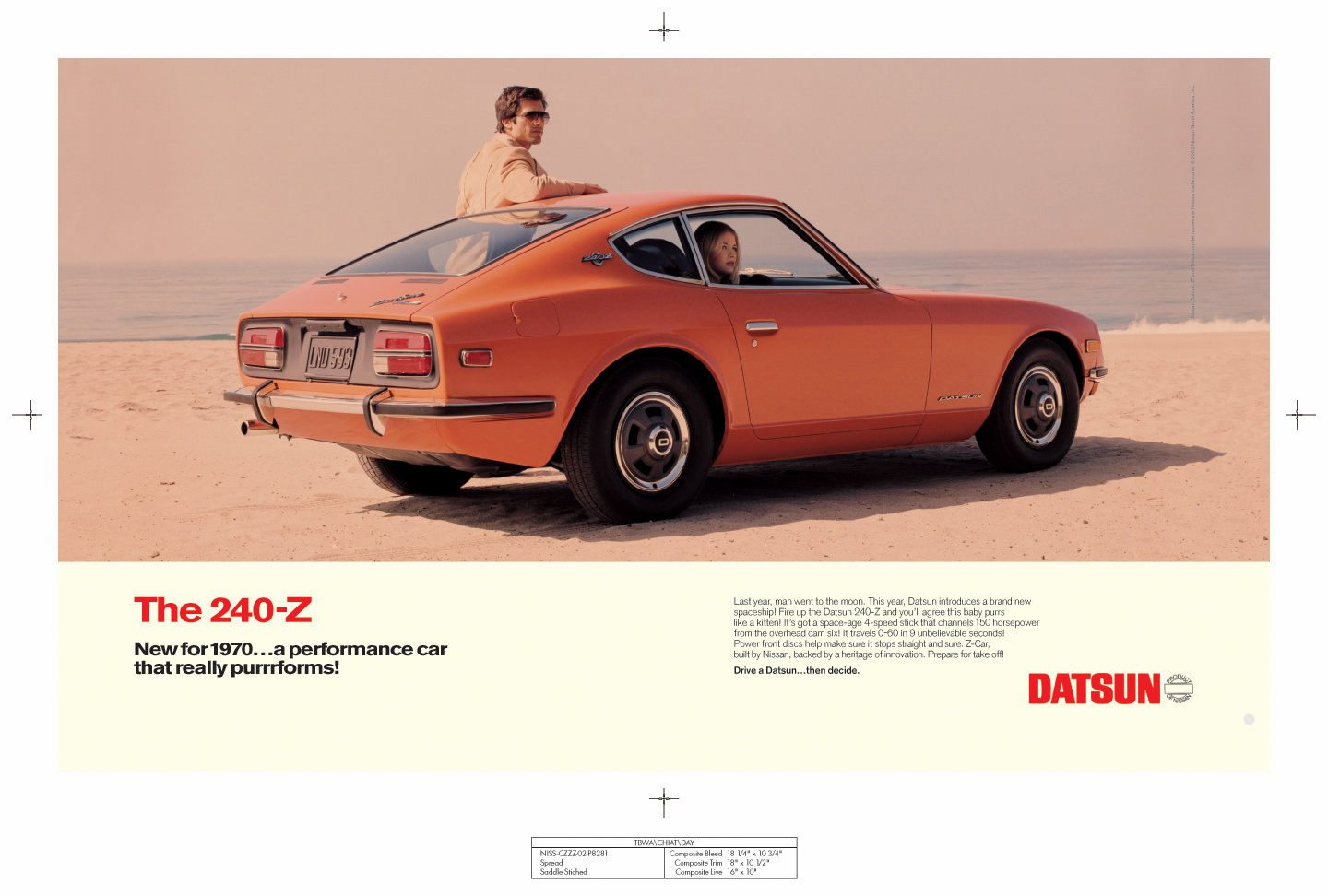 1970 Datsun 240-Z promotional art board in digital form