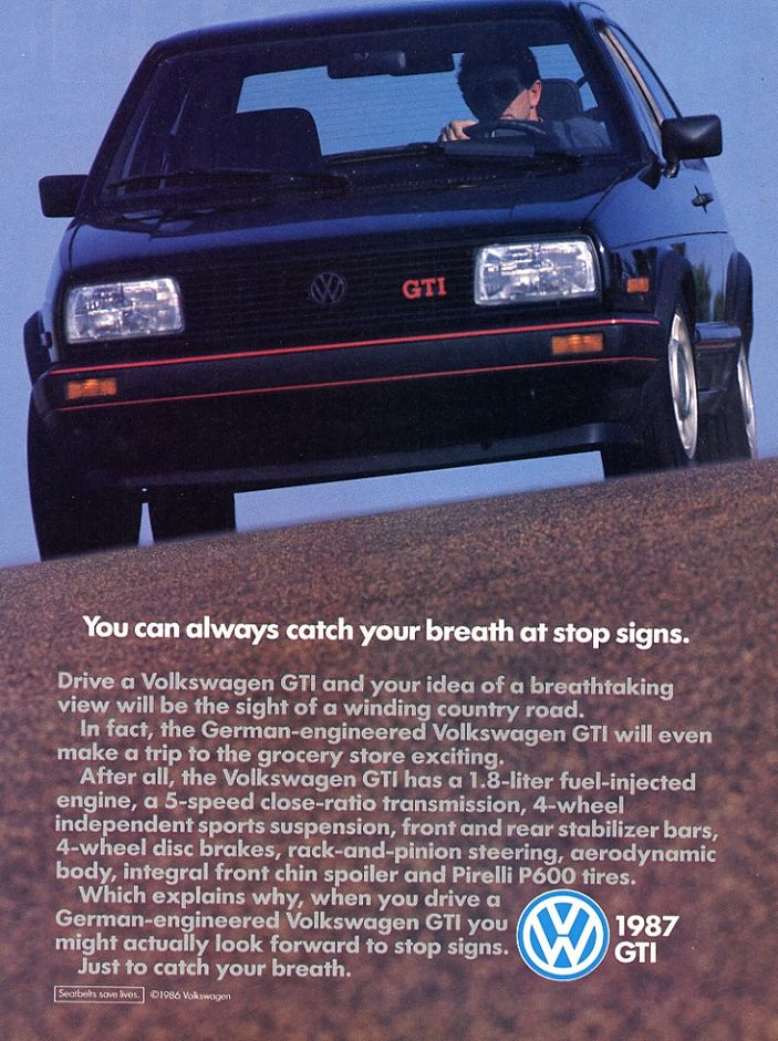 1987 Volkswagen GTI 8V Advertisement