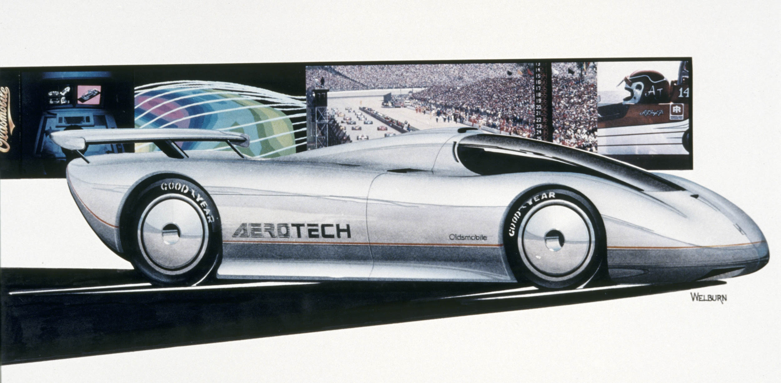 1987 Oldsmobile Aerotech concept art by Ed Welburn