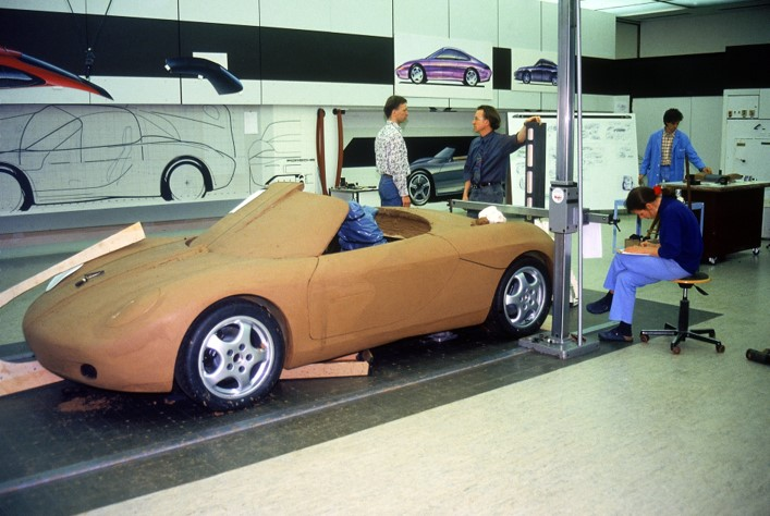 Even in this early stage, the clay model shows the influence from classic Porsche racecars.