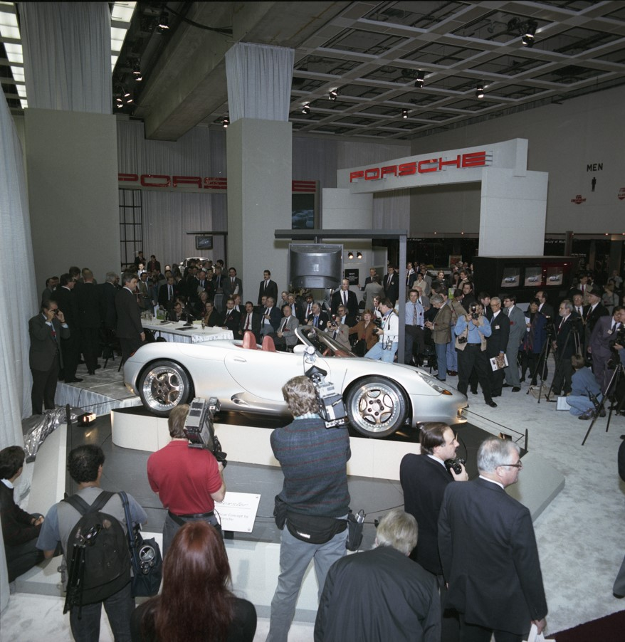 "The Boxster was the instant hit of the 1993 North American International Auto Show in Detroit. AutoWeek named it ""Best in Show."""