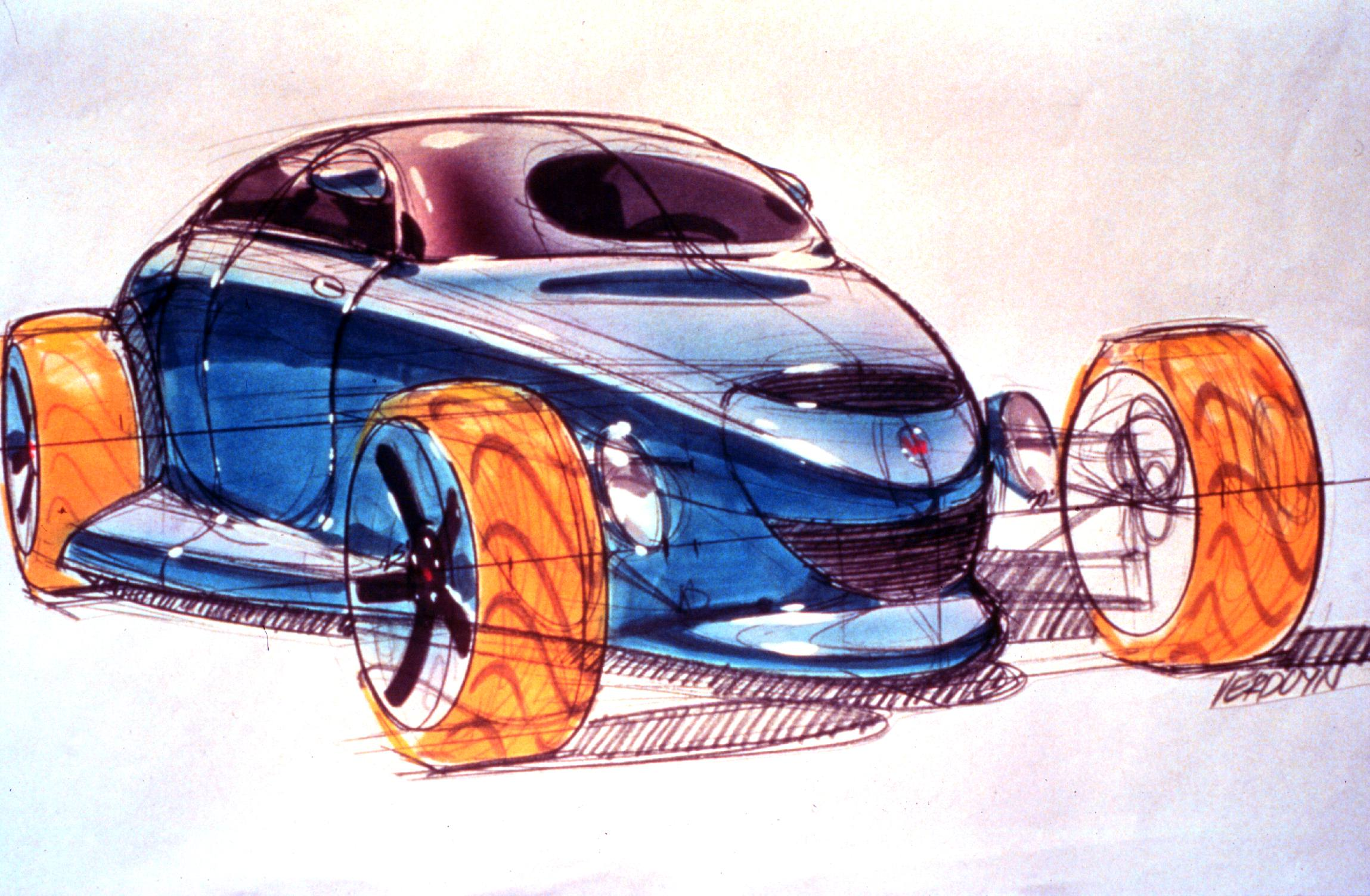 Kevin Verduyn, at Chrysler's Pacifica studio, handled the Prowler's design. His early renderings included an even more radical-looking coupe.
