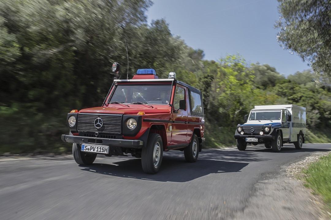 Mercedes-Benz G-wagen Red on pavement