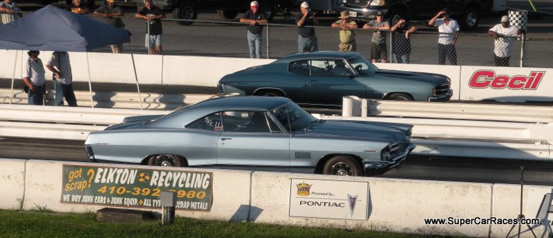 Anderson races his Pontiac 2+2 in Factory Appearing Stock Tire (FAST) competition, which means skinny bias-ply Cokers on this big classic, seen here racing a Chevelle at Cecil County Dragway in Maryland.
