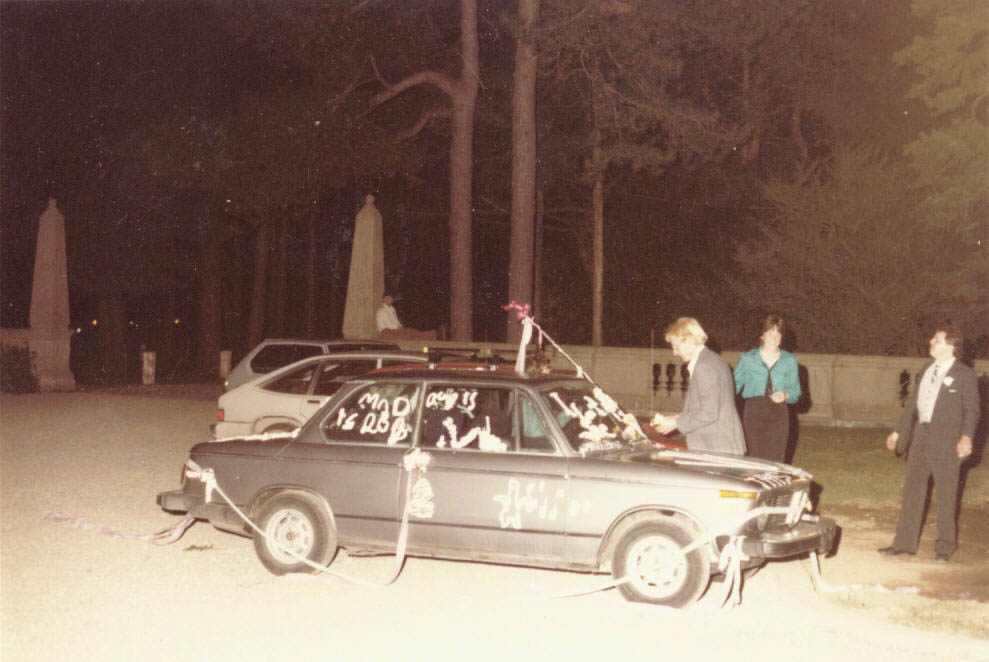 Bertha, the 1975 BMW 2002, at our wedding.