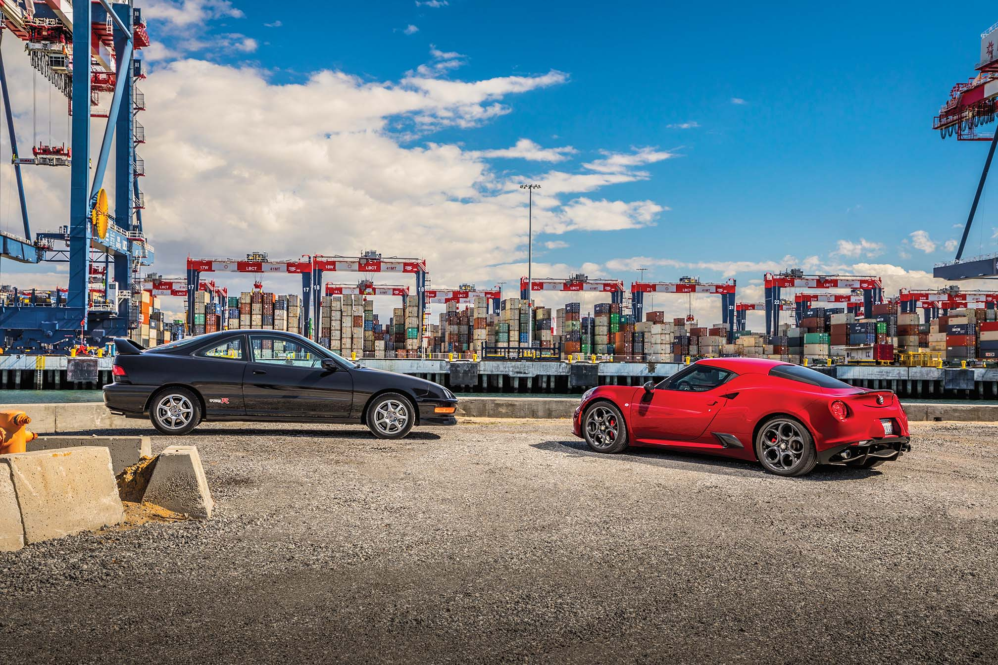 The Type R and  the 4C stand at opposite ends of the styling spectrum. One embodies the simple, unfussy economy of function over form. The other is an Alfa Romeo.