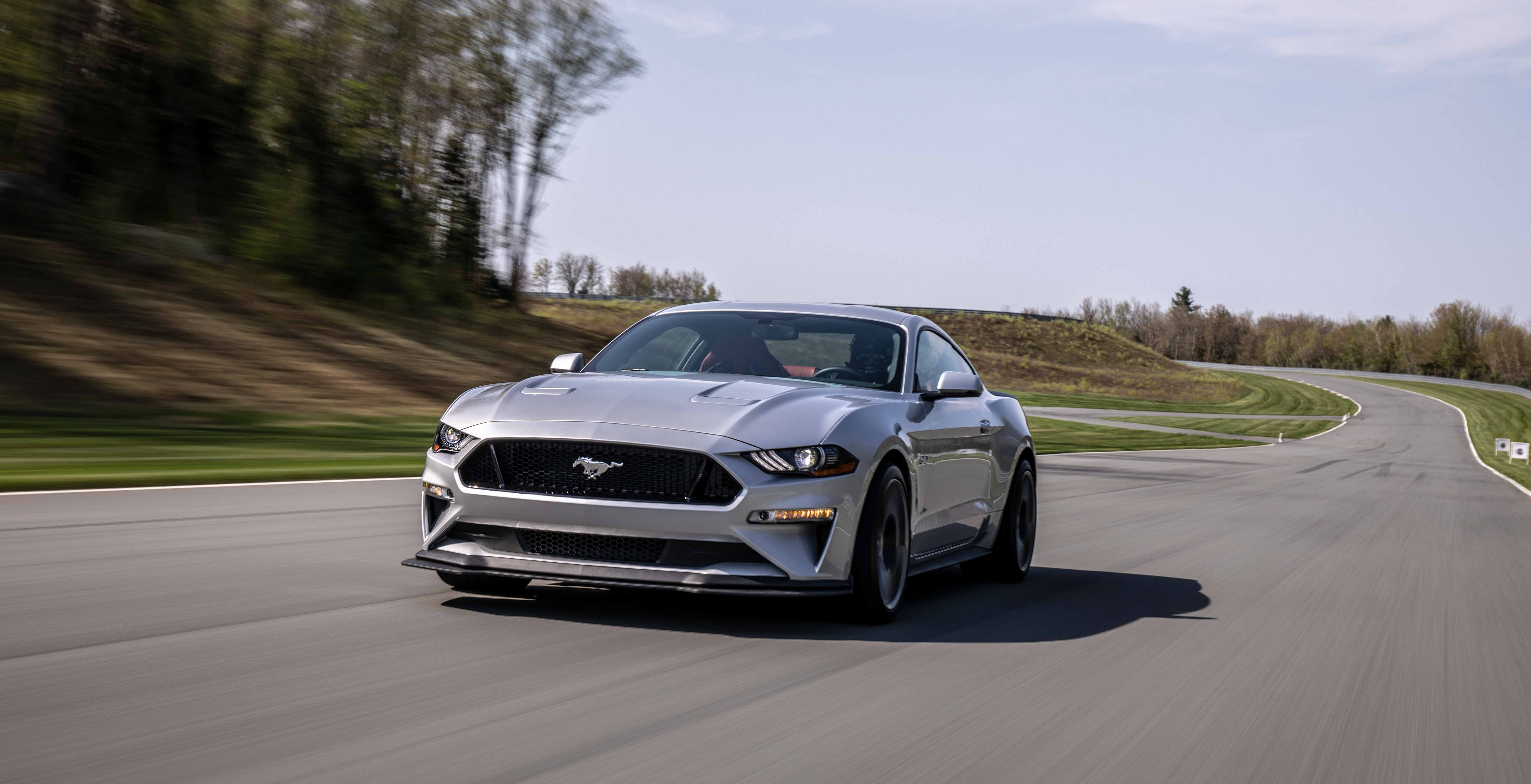 2018 Ford Mustang GT Performance Pack 2 on track 3/4 front