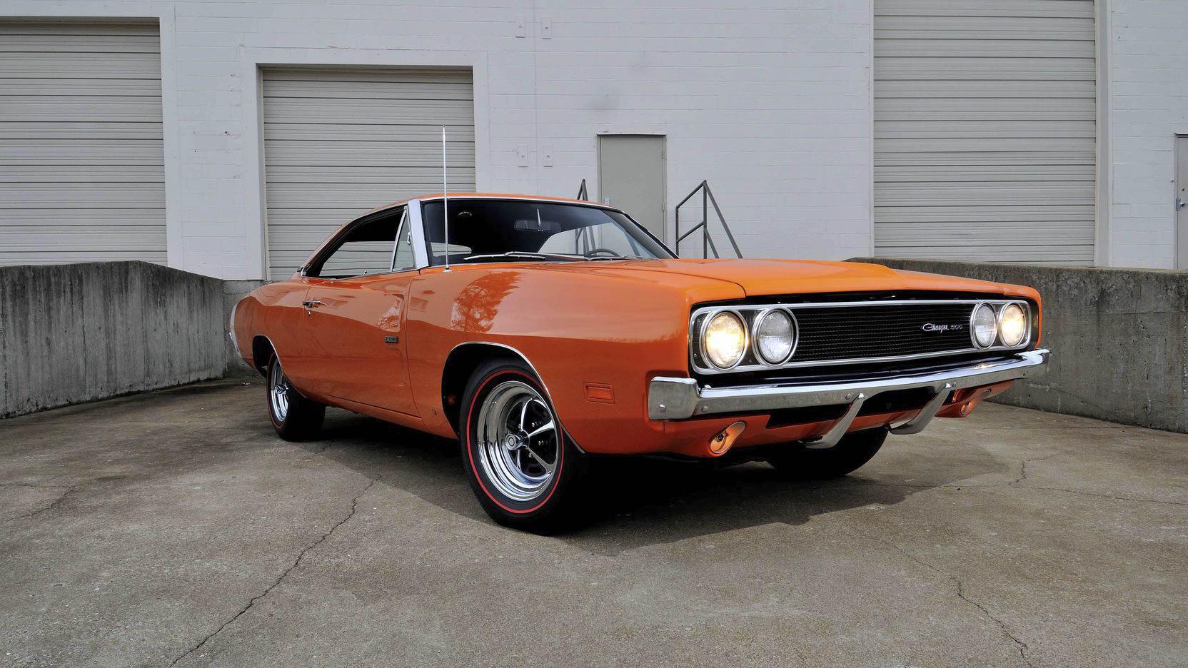 Orange 1969 Dodge Charger 500 front 3/4