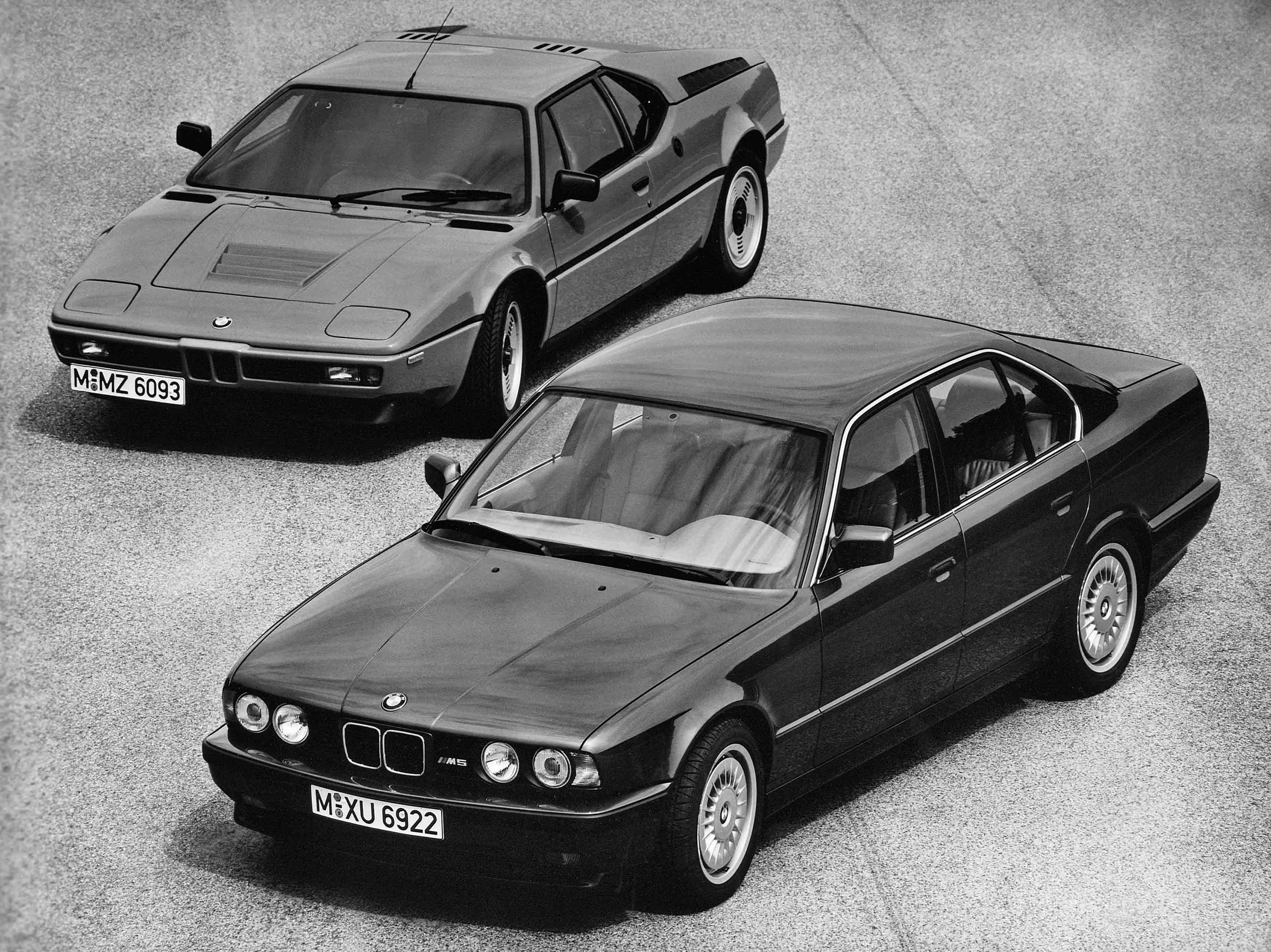 BMW M1 and M5 black and white