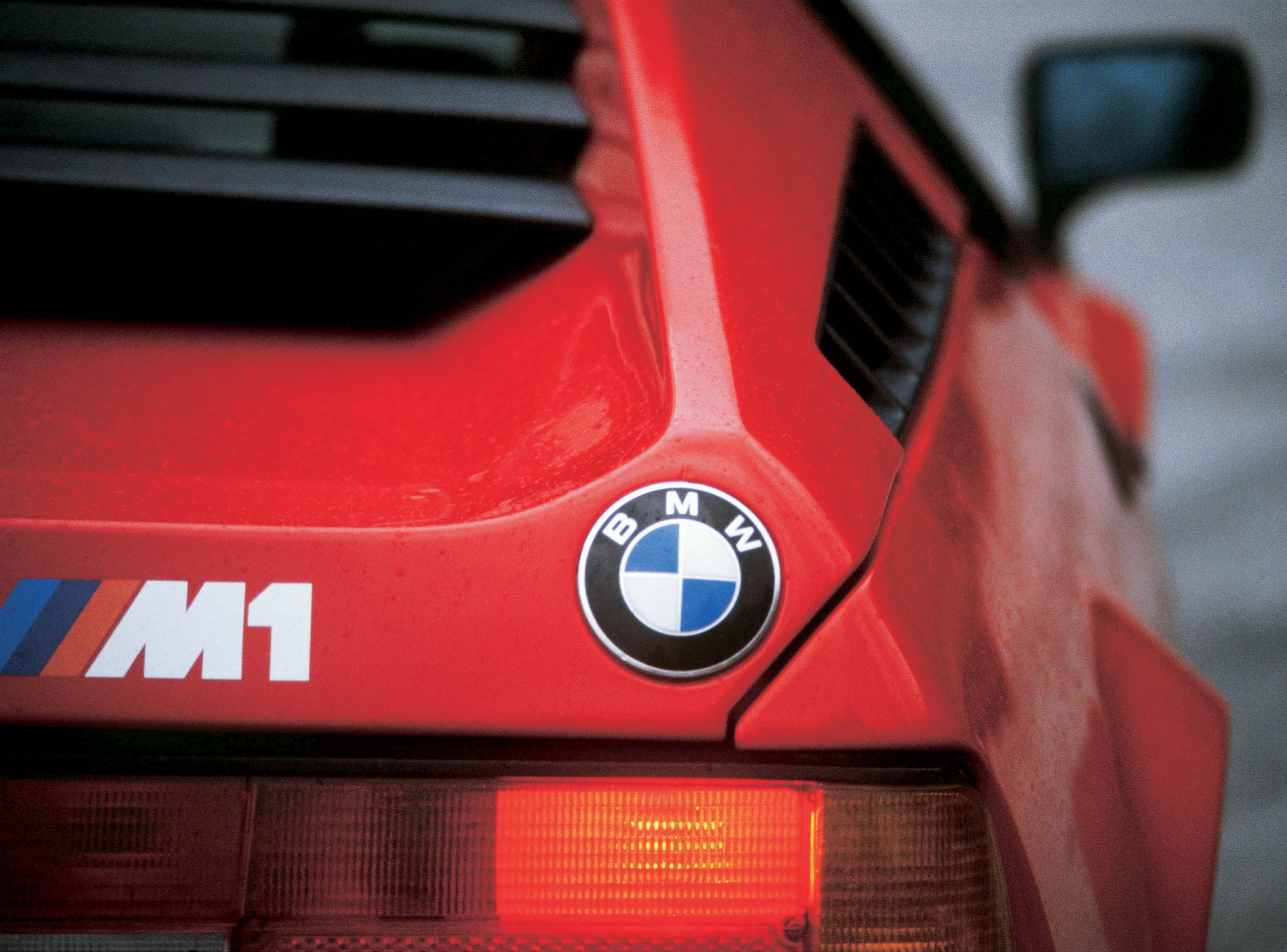 BMW M1 badge cropped shot