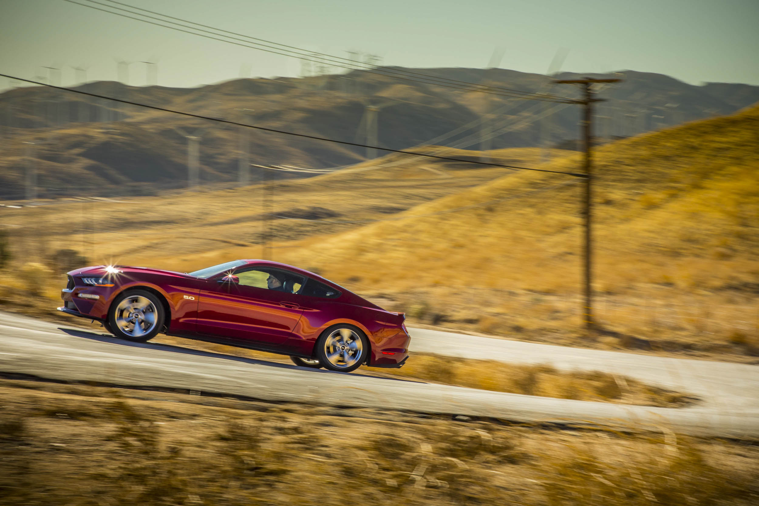 2018 Ford Mustang GT driving up hill