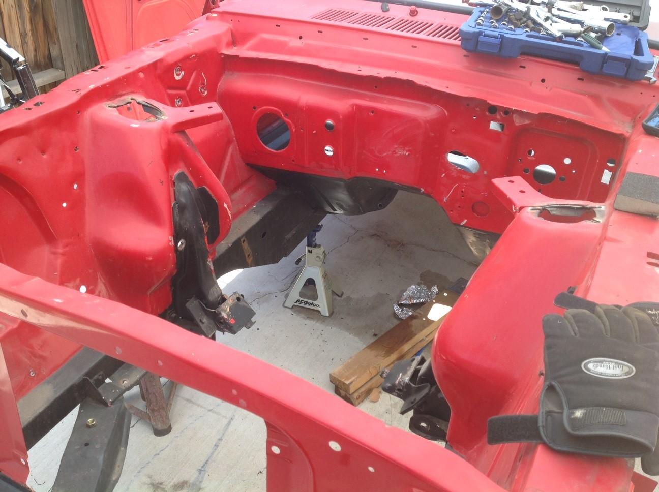 1966 Ford Mustang frame before restoration