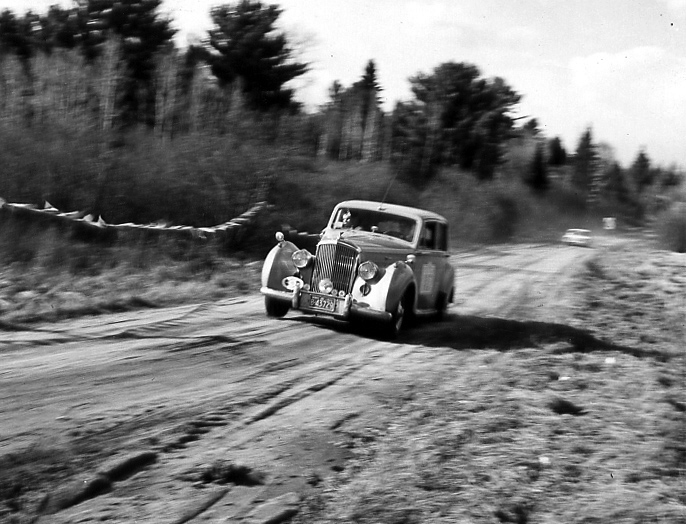 Brothers Don and Colin McQuirk drive Don's 1951 Bentley Mark VI in the 1963 Trans-Canada Rally