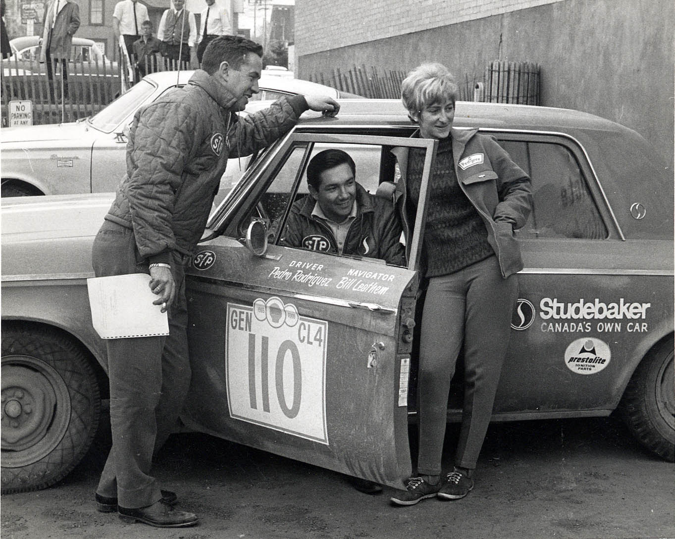 Studebaker teammates Bill Leathem and Pedro Rodriguez are joined by Volvo driver Diana Carter in 1965