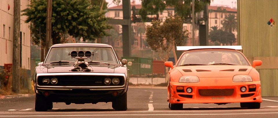 1970 Dodge Charger and 1995 Toyota Supra Mk.IV drag race in The Fast and The Furious