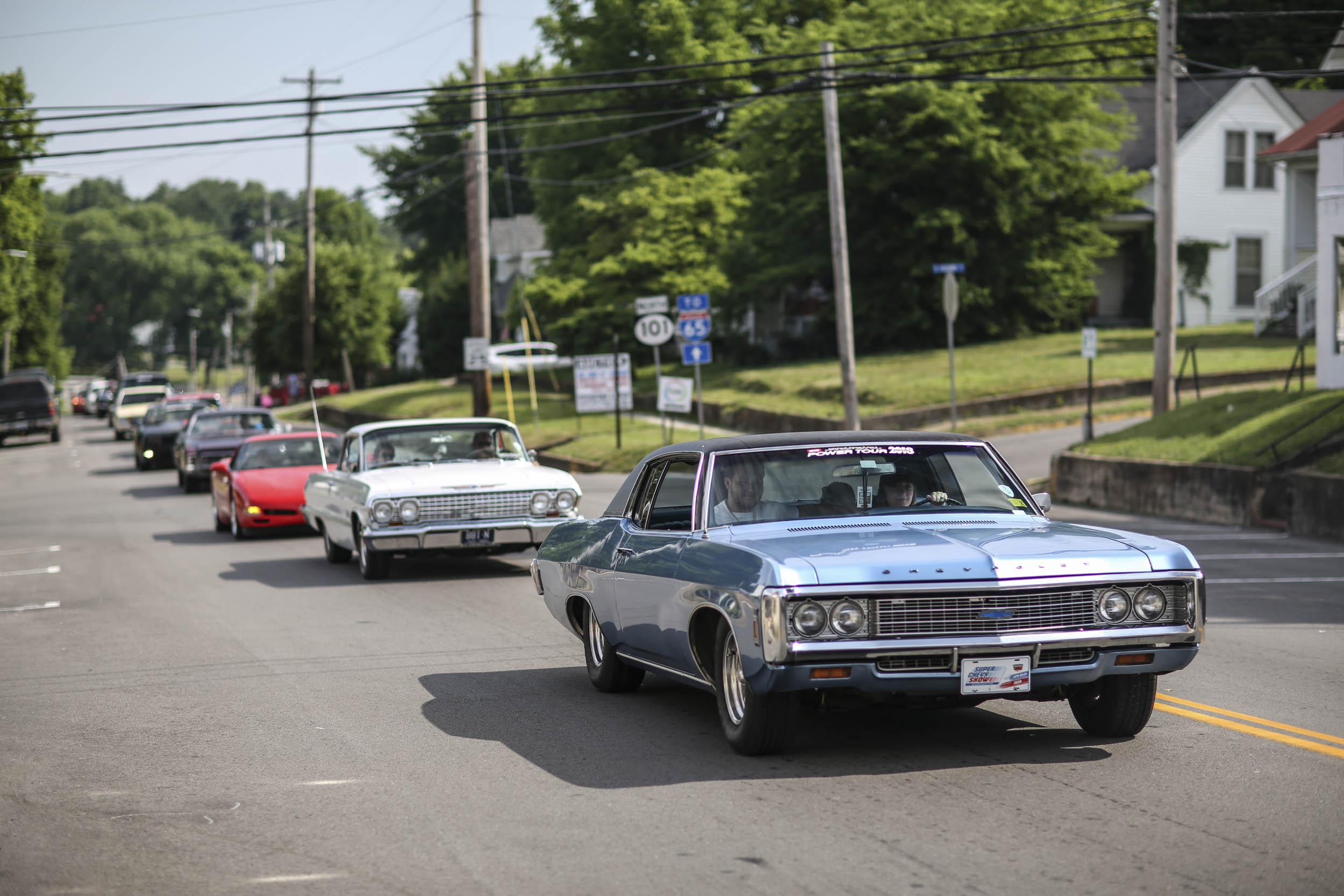 As the route winds through small towns, cars create a parade through main streets.