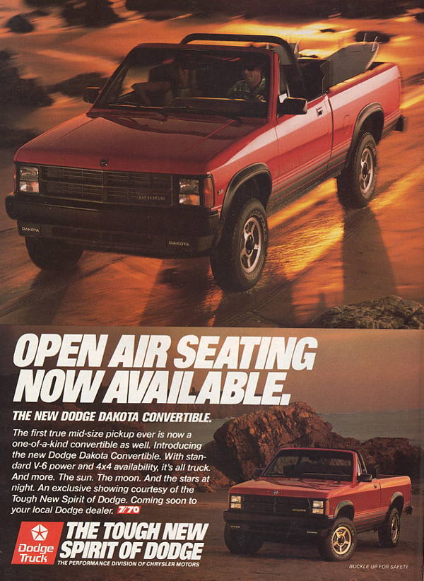 1989-91 Dodge Dakota convertible ad