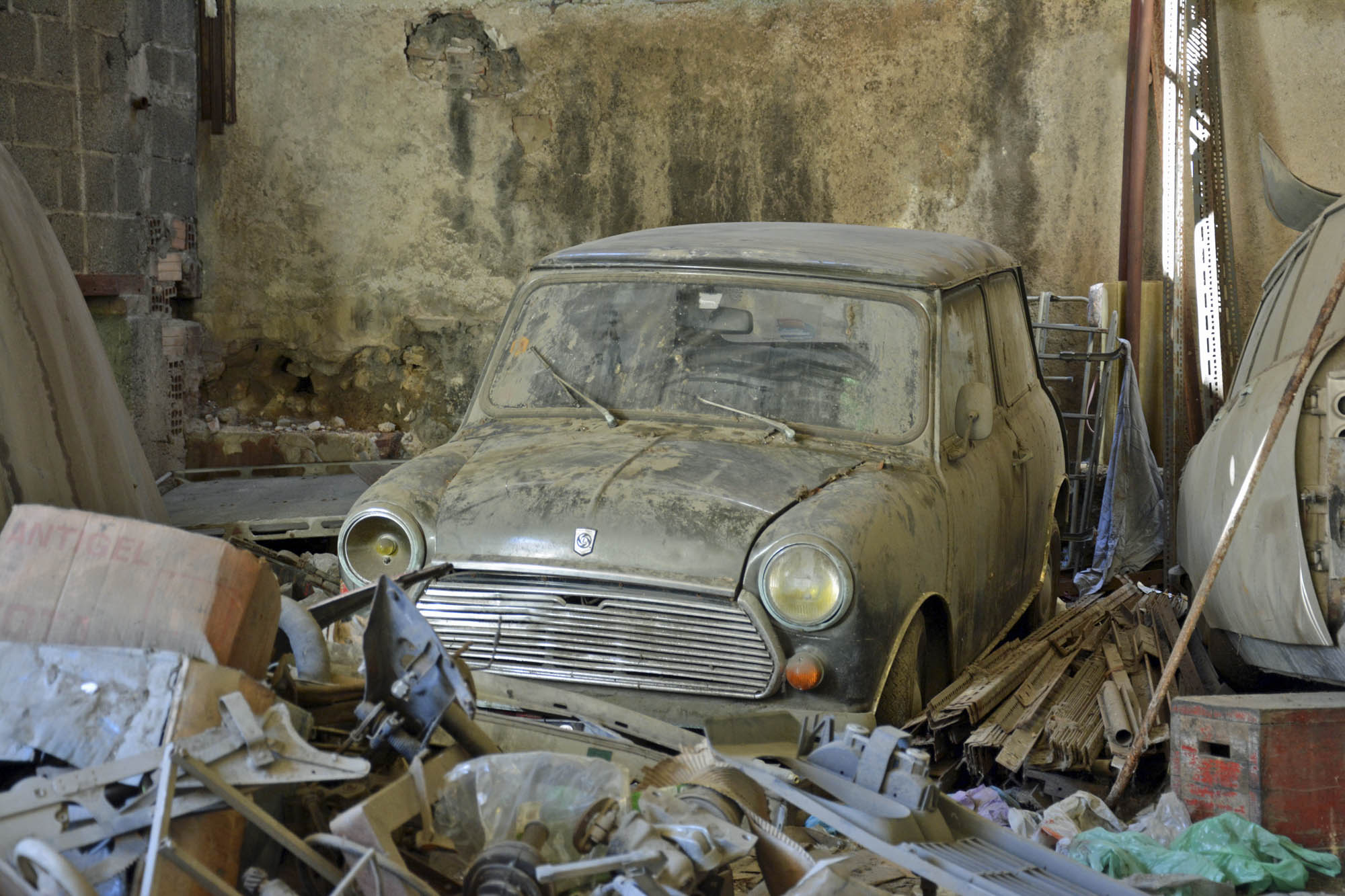 car and parts in old Citroen store