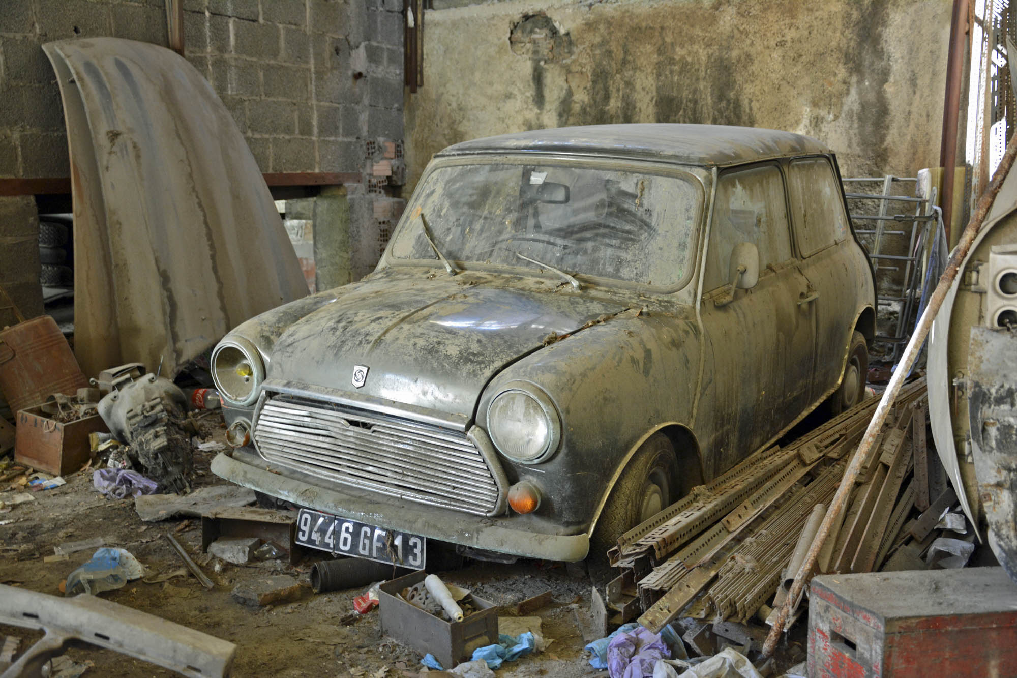 old car in Citroen parts store