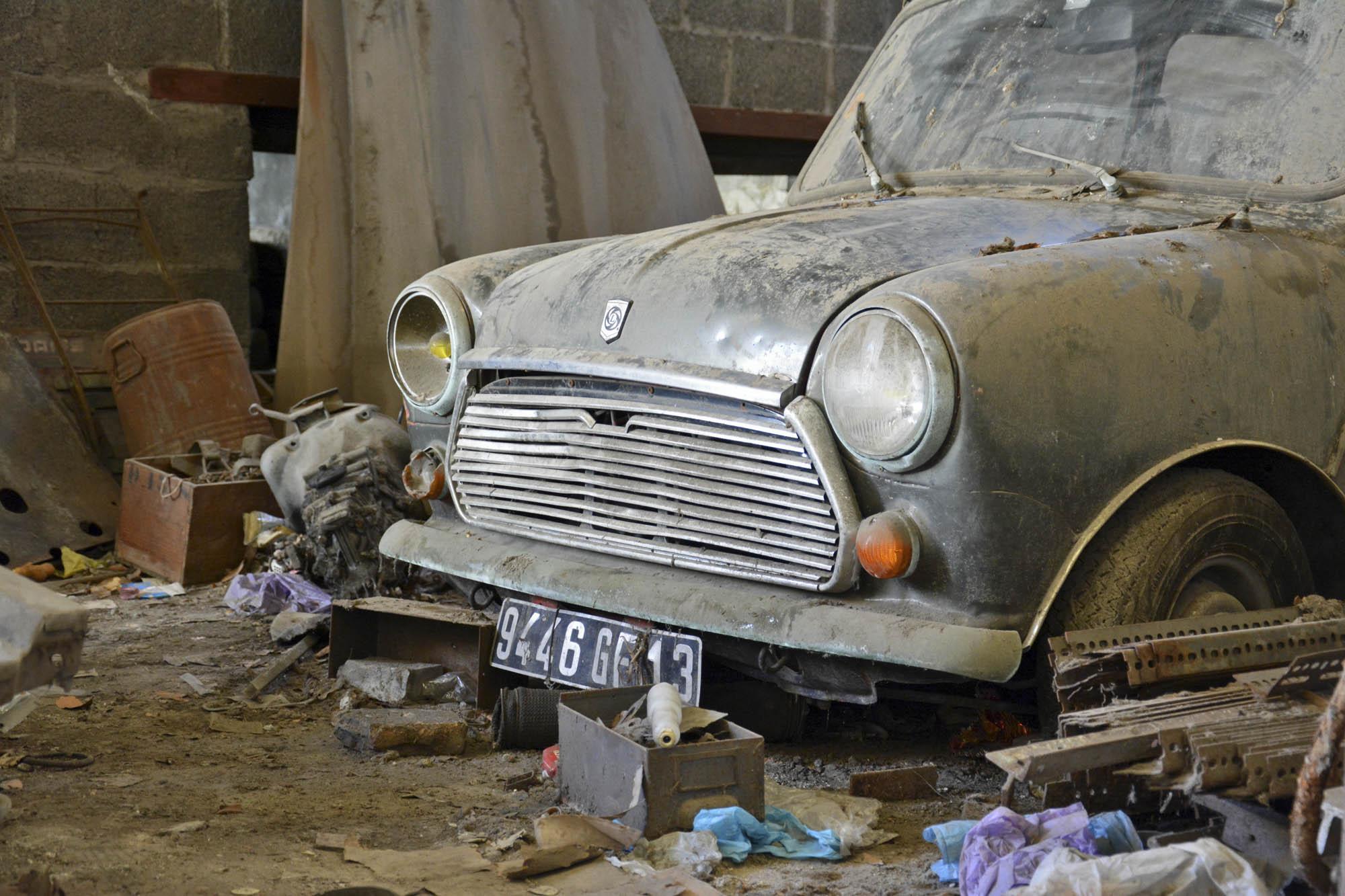 close-up on car in old Citroen parts emporium