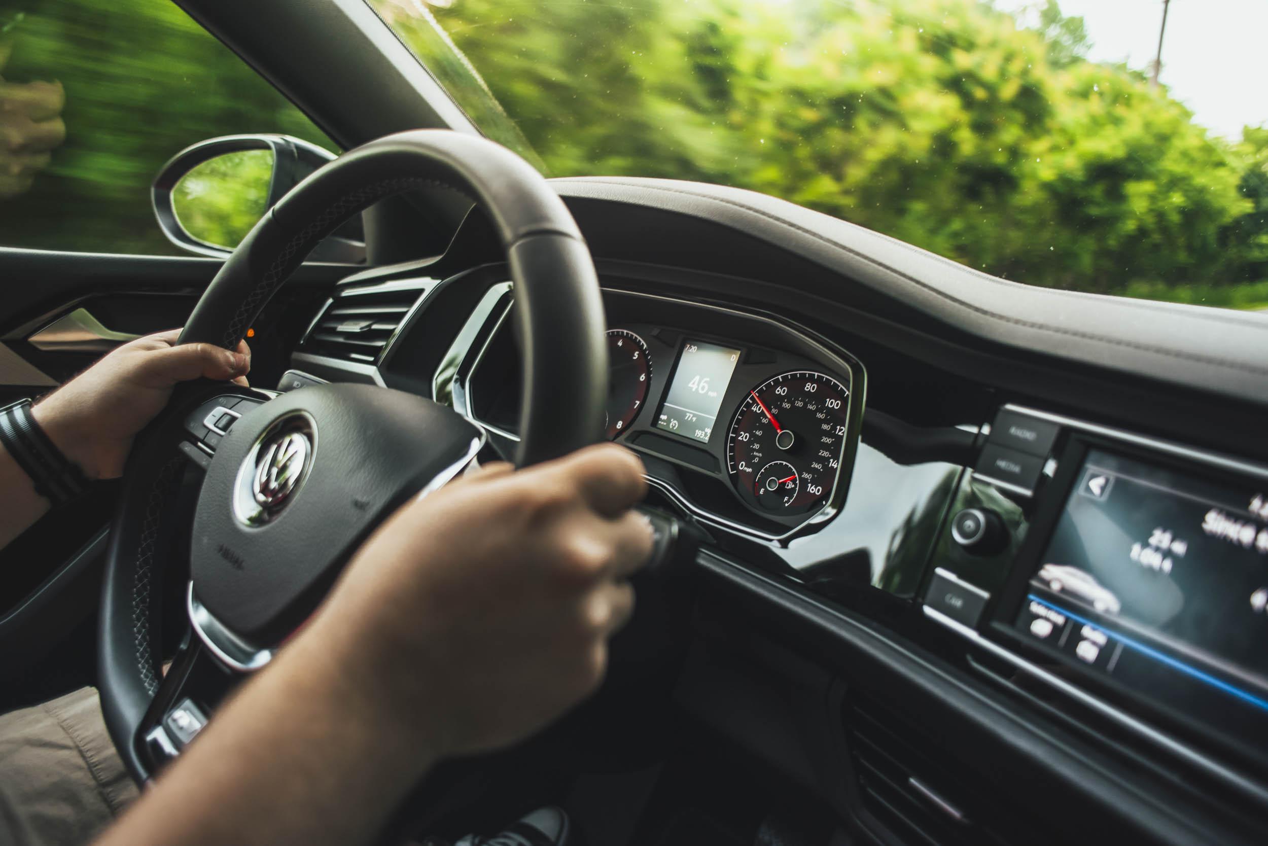 driver and steering wheel of volkswagen jetta r-line