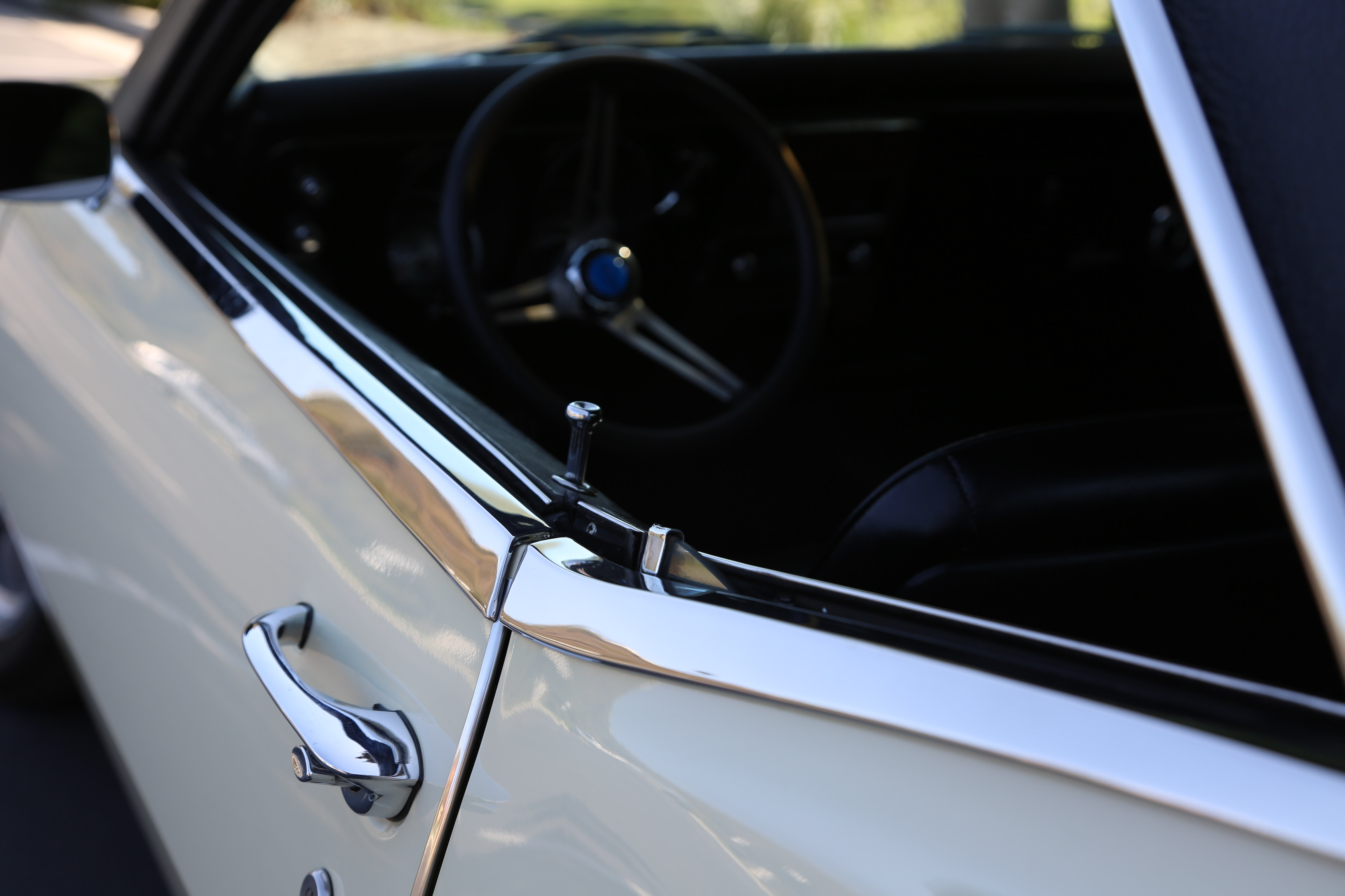 """These stainless beltline moldings, part of the """"Exterior Style Trim Group"""" that included wheel opening trim, is a seldom-seen option that actually made it onto over 40,000 1968 Camaros."""