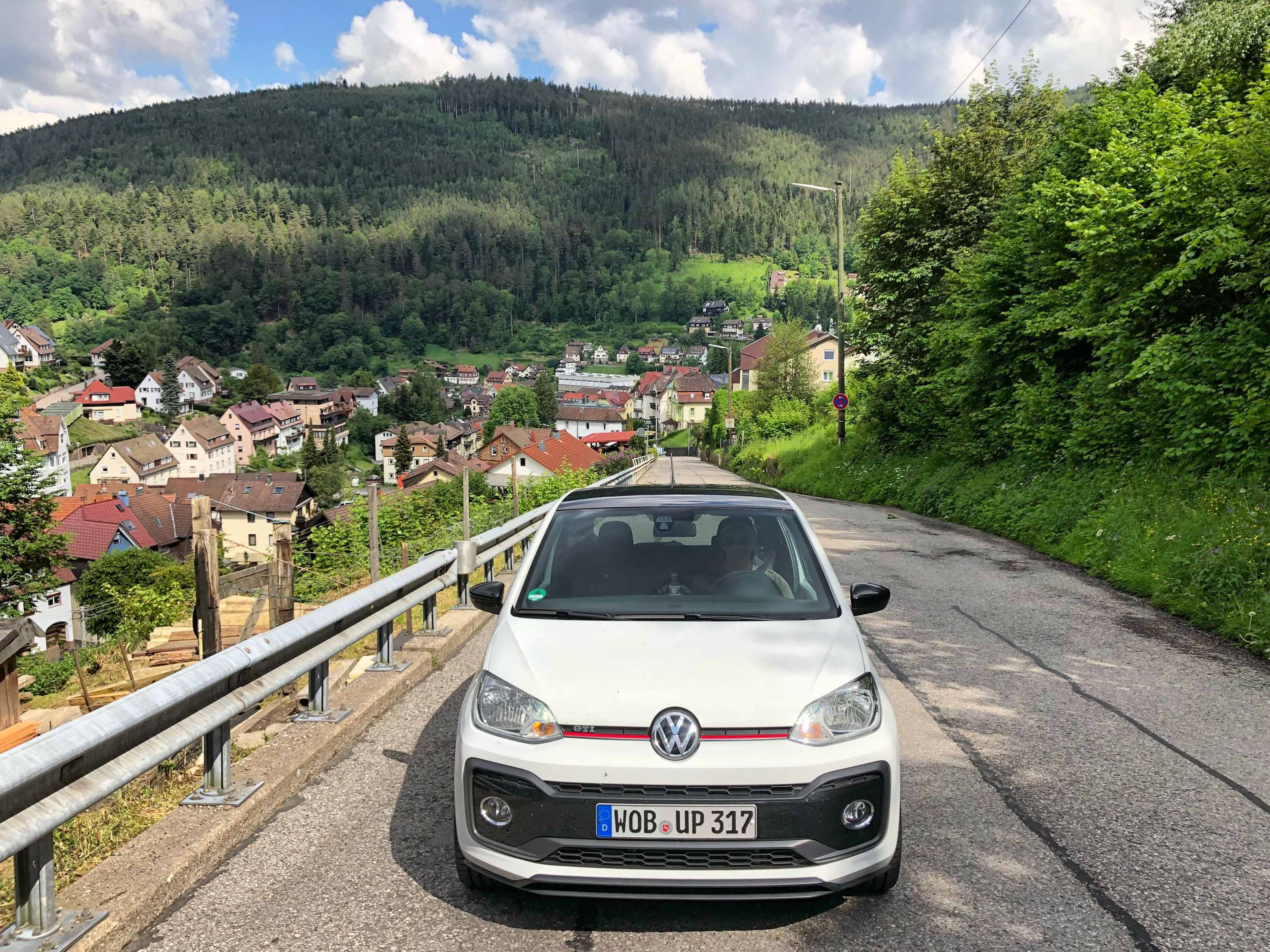 2018 Volkswagen Up! GTI Font shot with trees and town