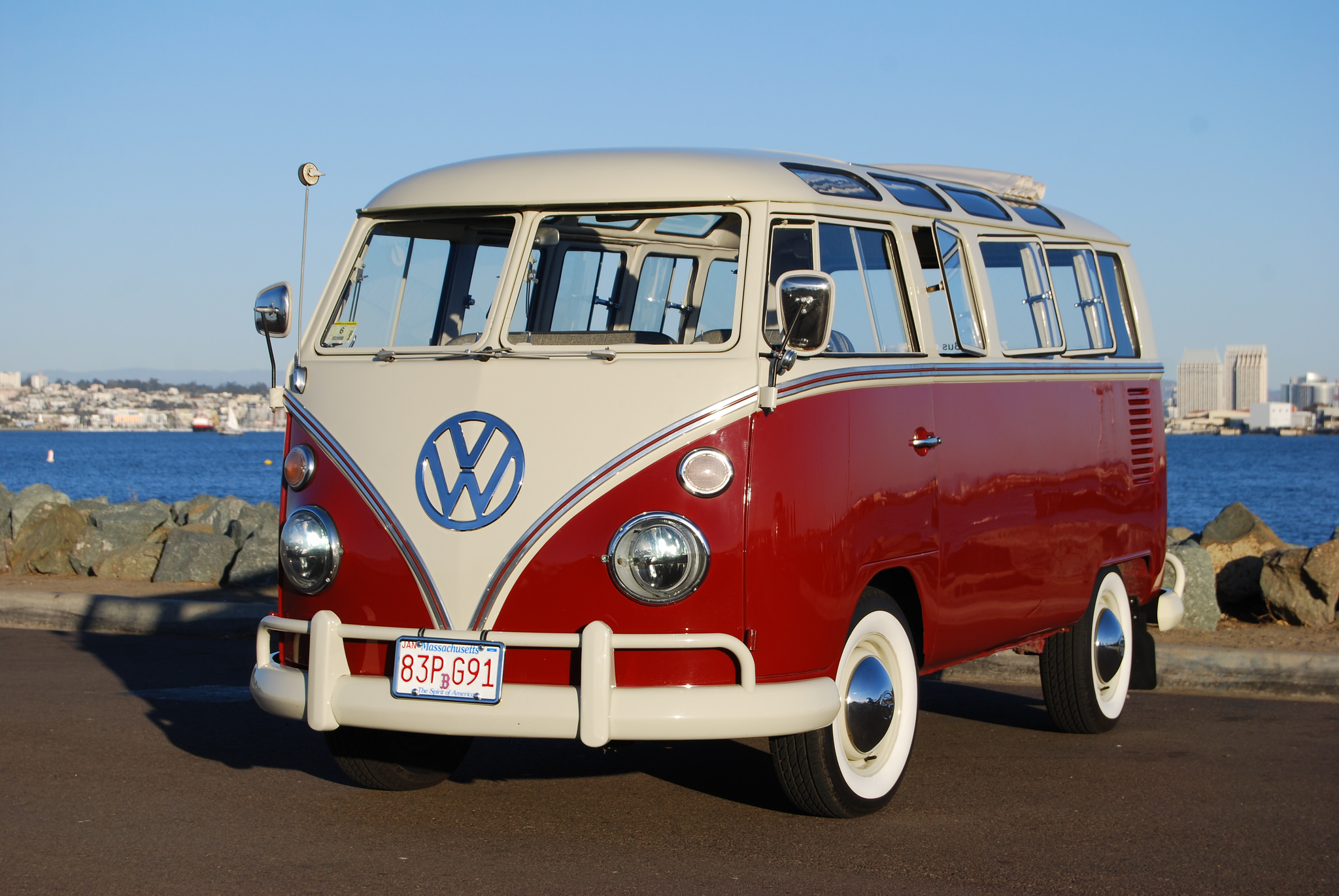 1958 Volkswagen 21 Window Bus EV conversion front 3/4