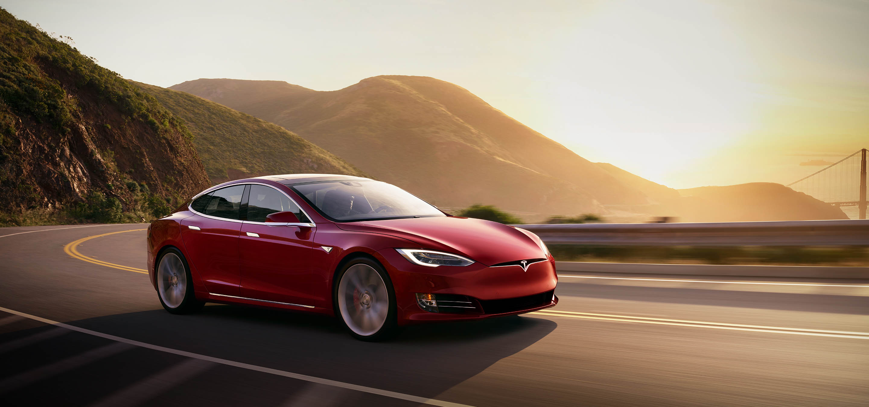 2018 Tesla Model S red sunset