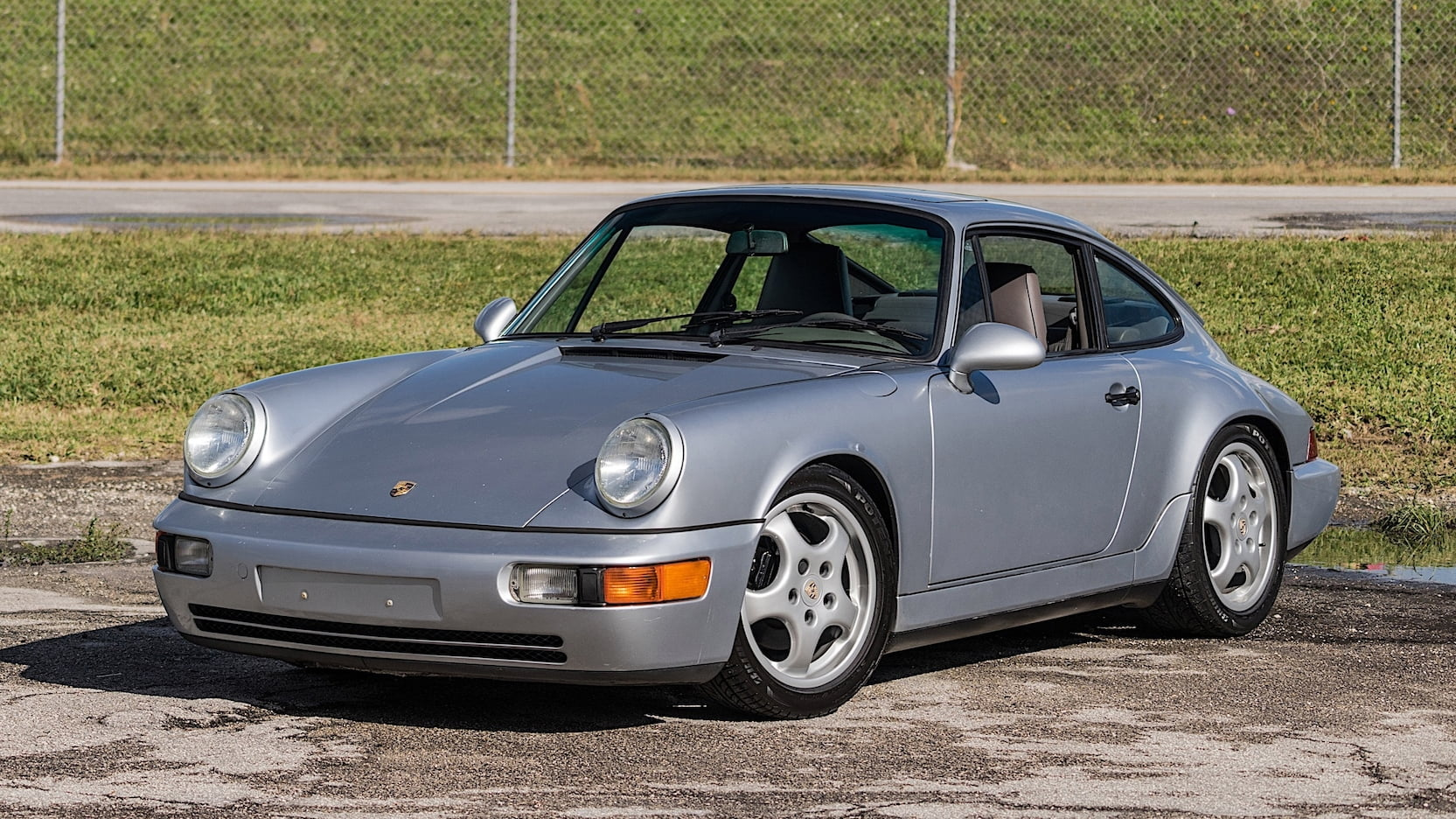 1993 Porsche 911 Carrera 2 Silver 3/4 view