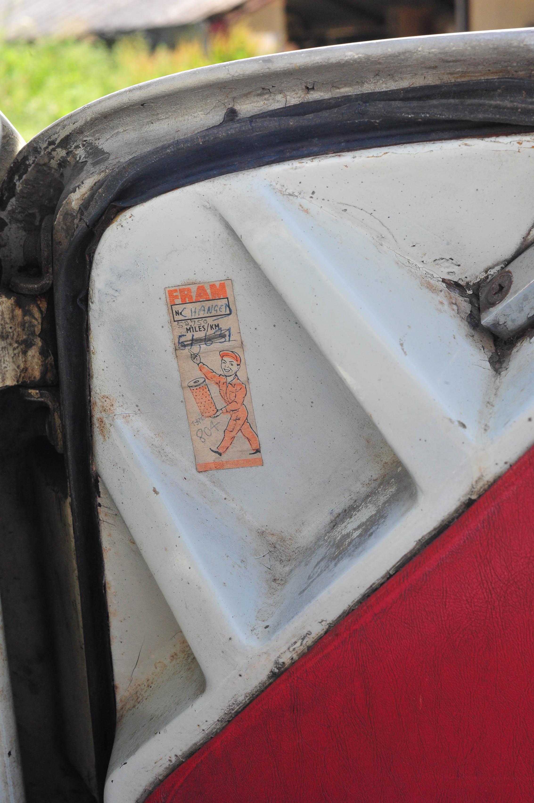 1961 Type 14 Lotus Elite oil change sticker