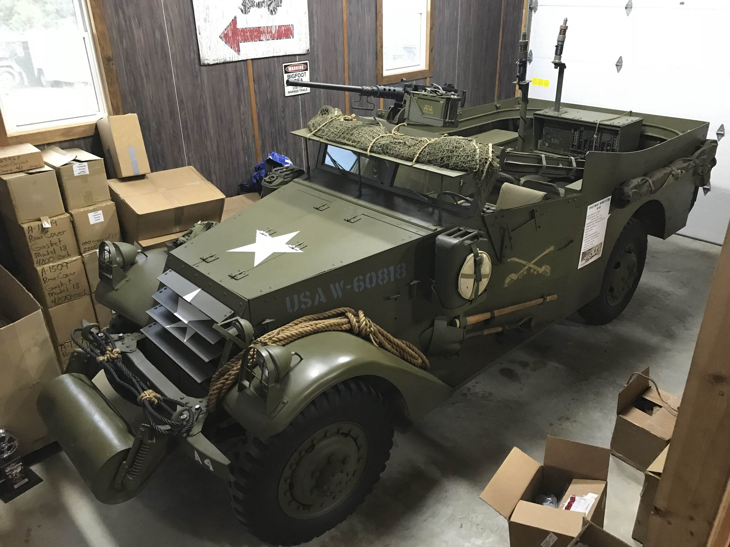 This military jeep restoration shop has all sorts of parts stocked up thumbnail