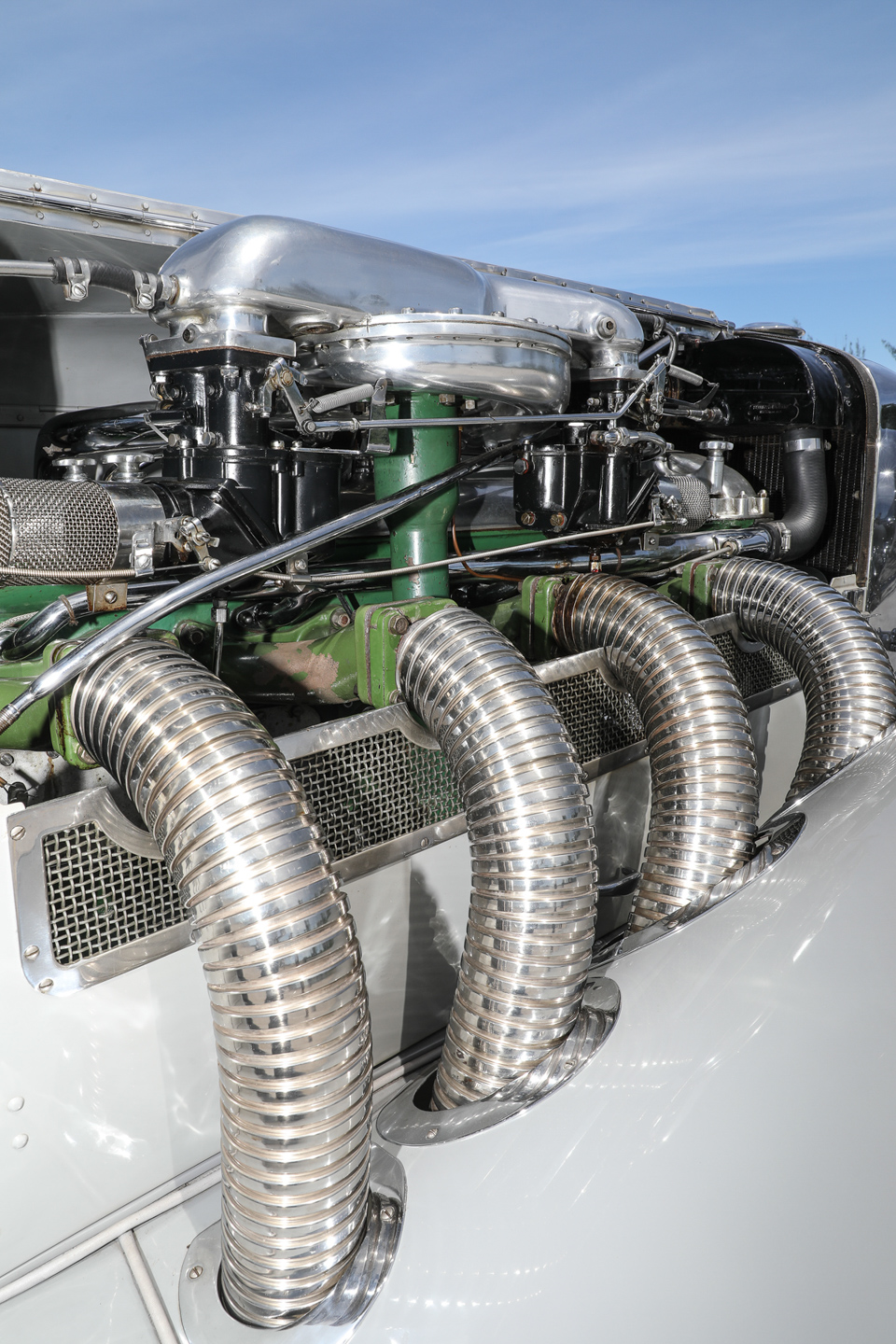 1935 Duesenberg SSJ engine exhaust