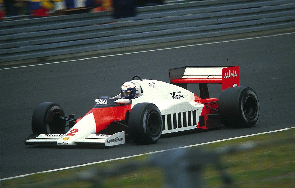 Alain Prost in his 1985 McLaren F1 race car