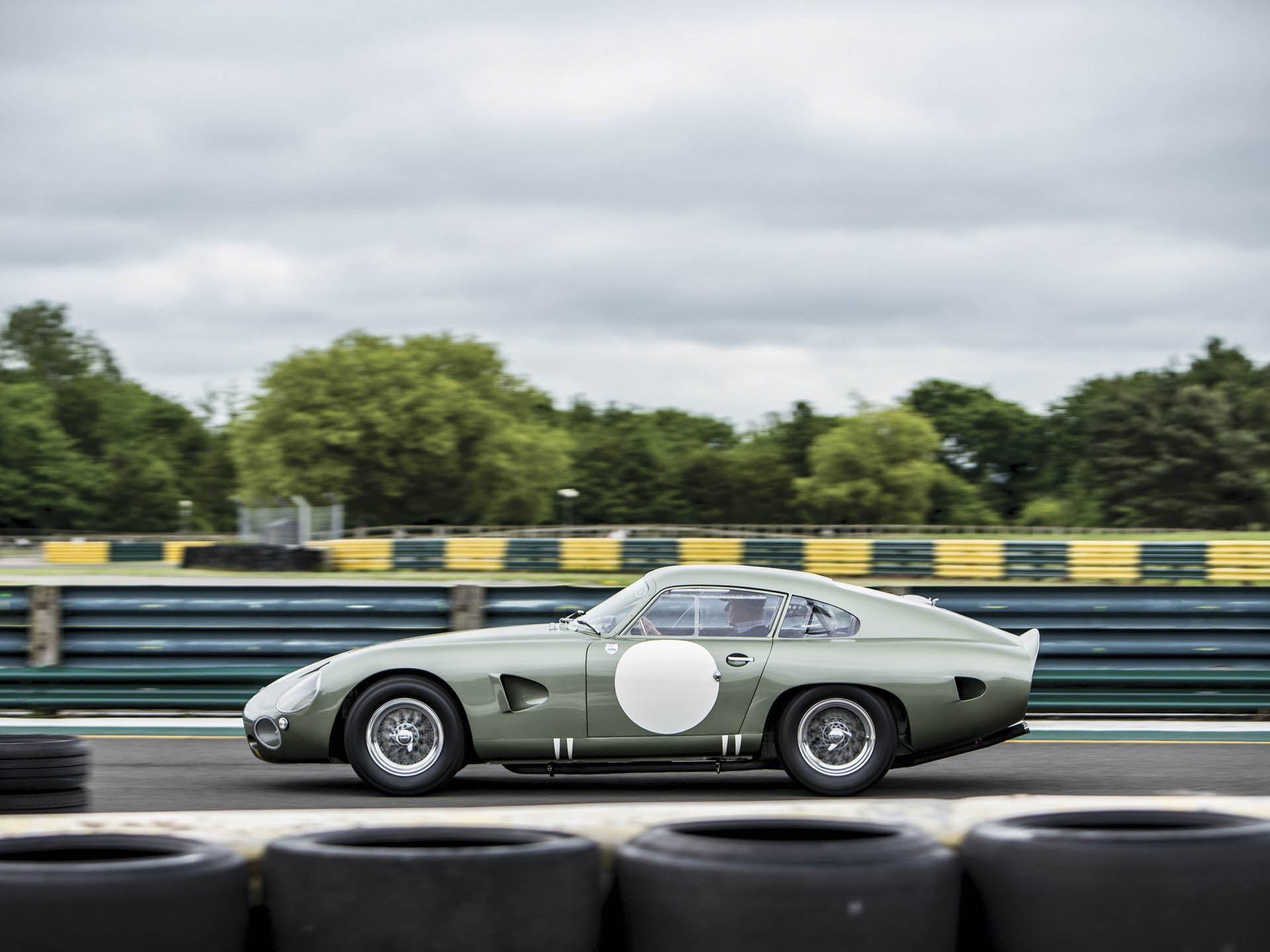 1963 Aston Martin DP215 Grand Touring Competition Prototype profile on the track