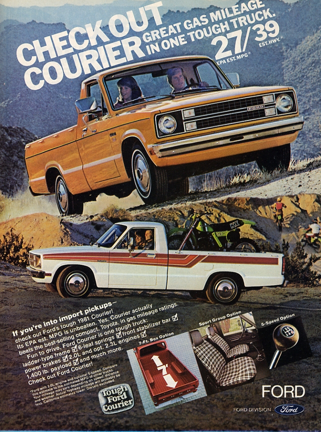 Ford Courier pickup yellow ad