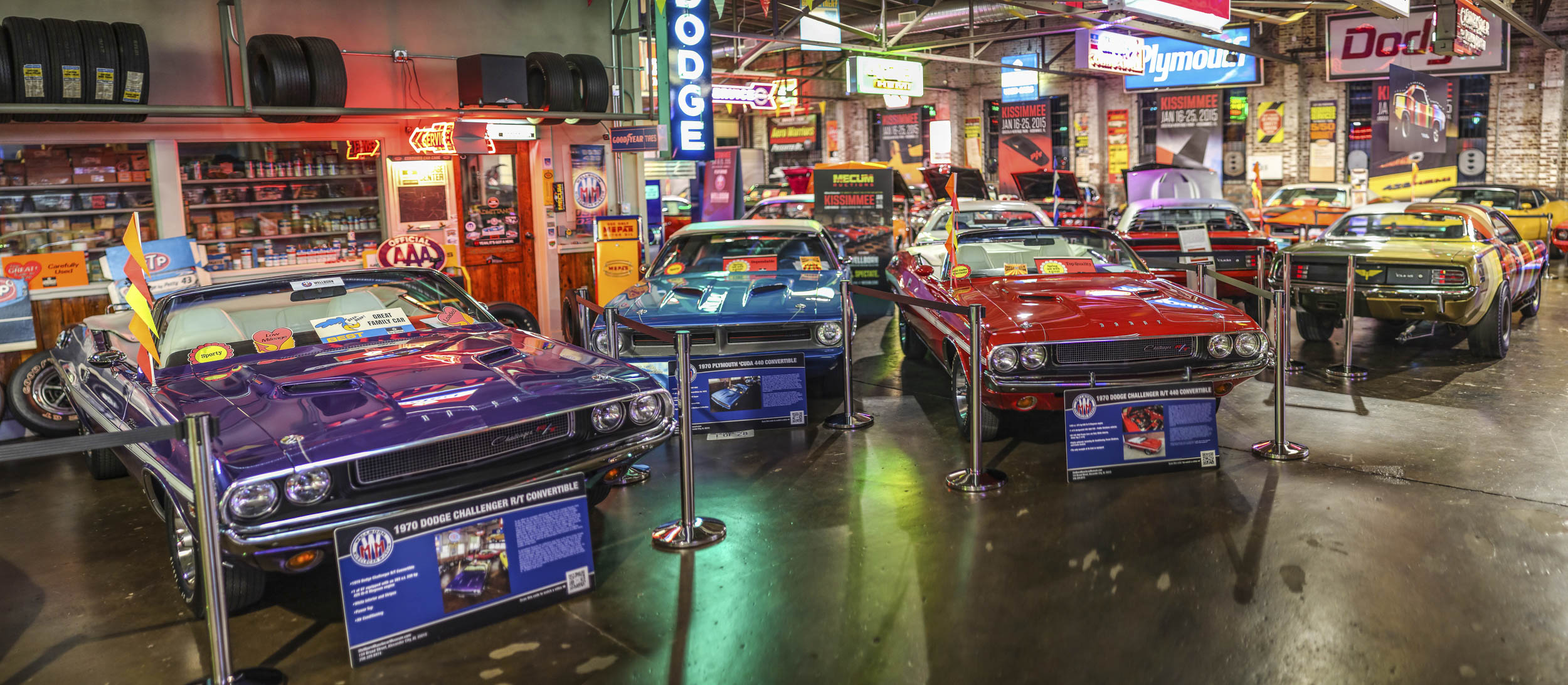 Besides the cars, the Wellborn Museum is filled with old Mopar dealership signs and memorabilia.