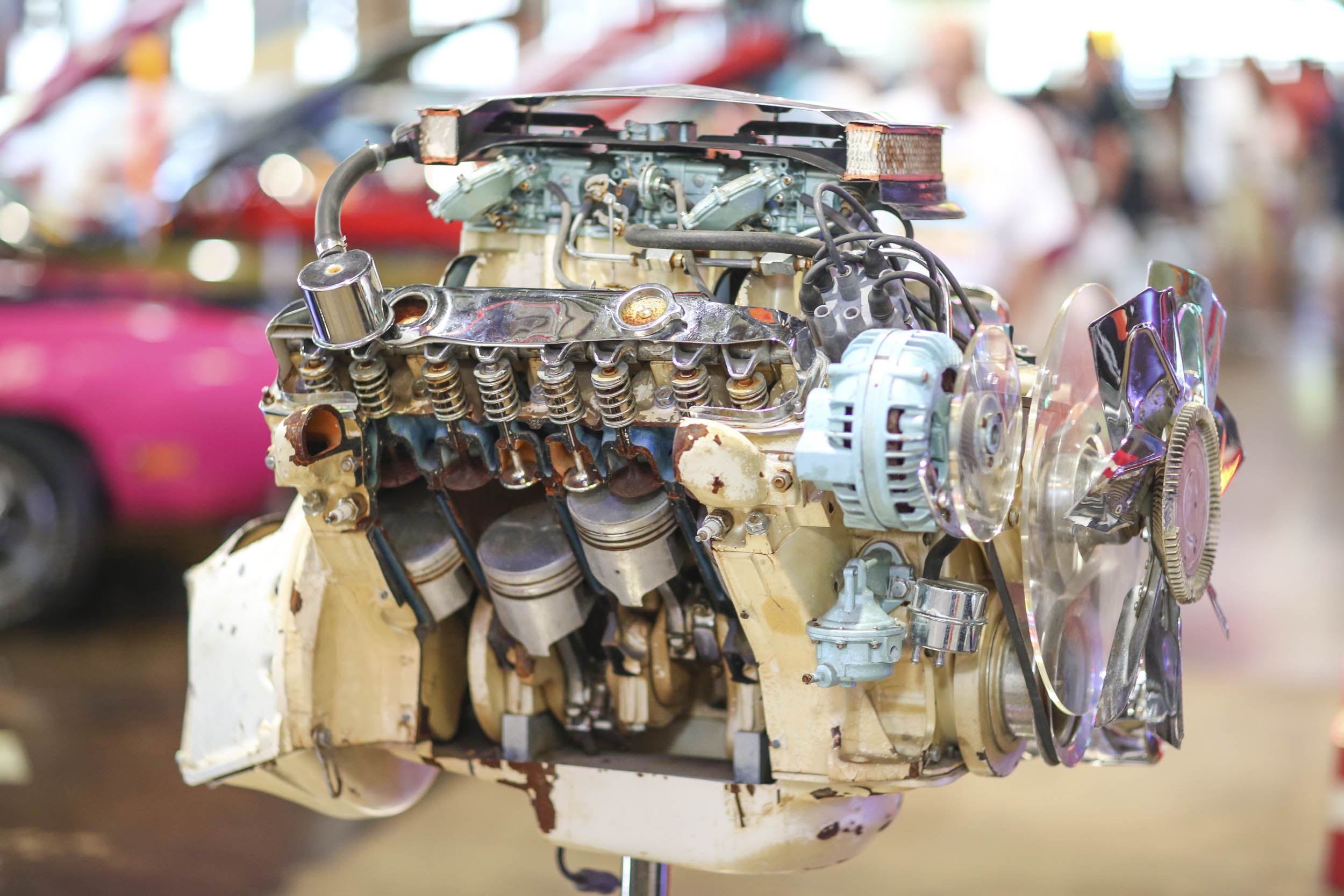 The whereabouts of this 440 Six Pack cutaway engine, built for Chrysler as an auto show display model, were unknown until the owner offered it for sale to Tim. There's also a cutaway street Hemi and race Hemi in the museum.