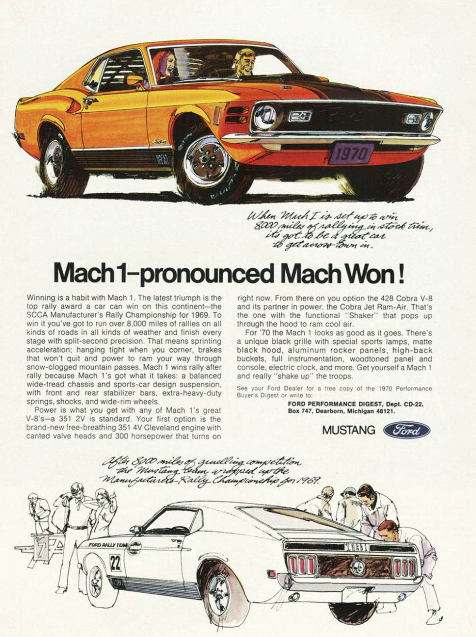1970 Ford Mustang Mach 1 Rally ad