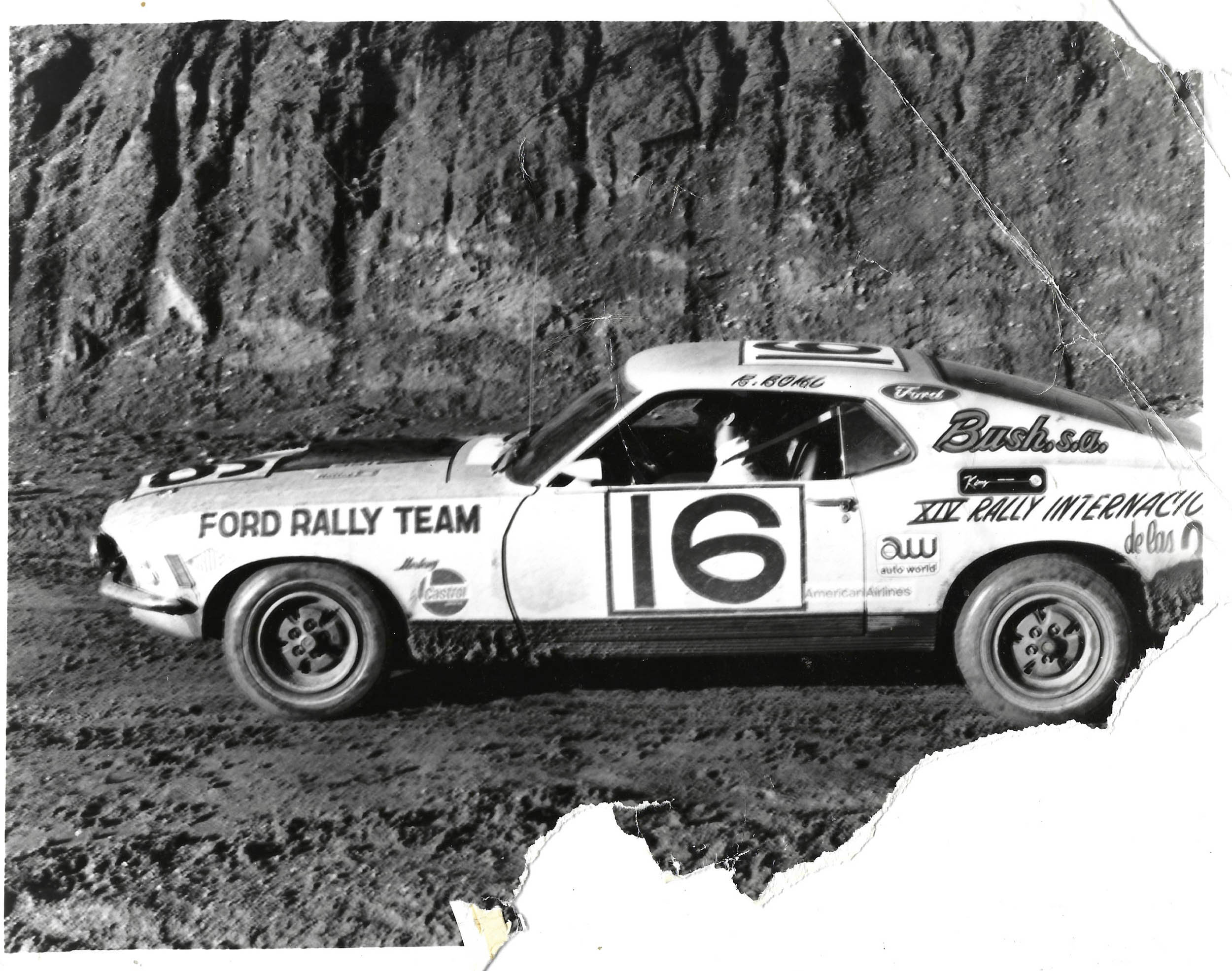 Roger and Kathy Bohl, championship rallyists from New Jersey, compete in a Mexico City rally with their 1970 Mach 1.