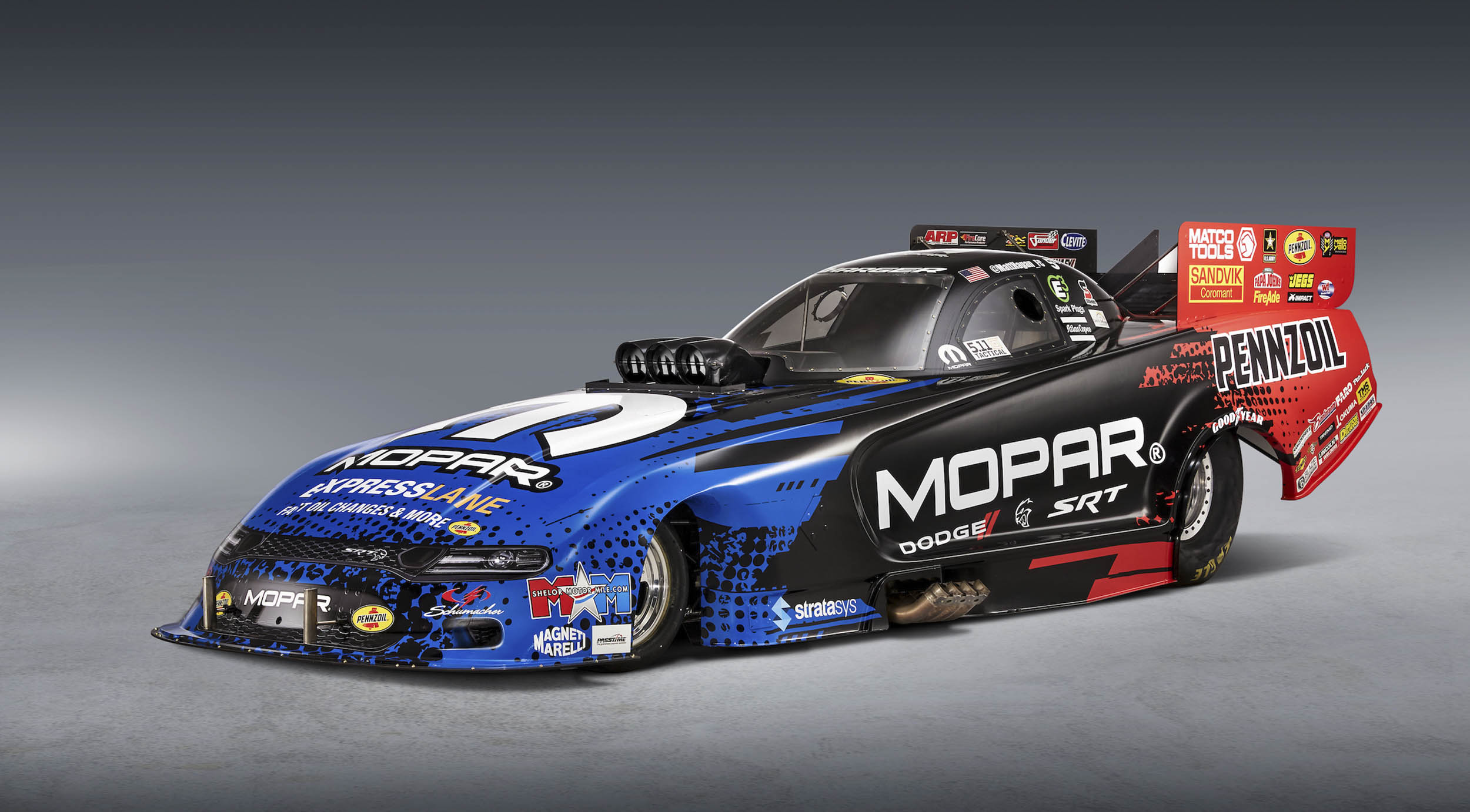Dodge Charger Hellcat Funny Car side 3/4