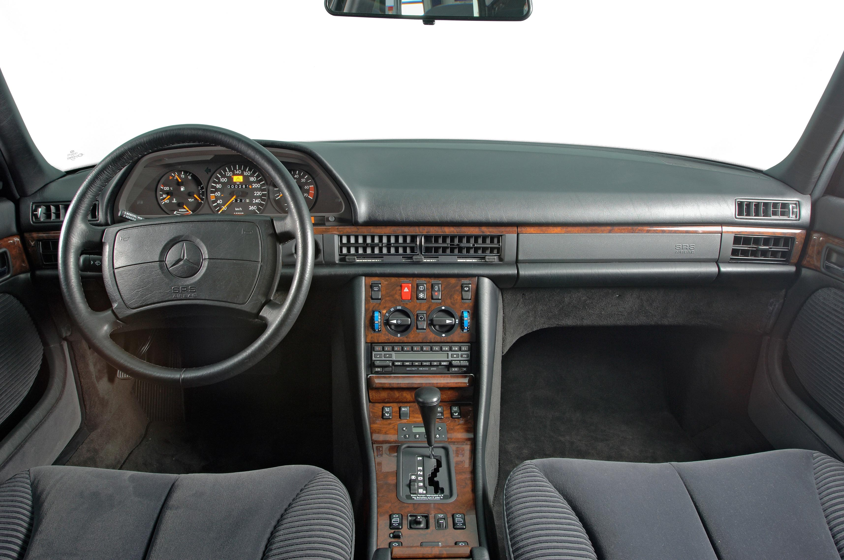 The Mercedes-Benz supplementary restraint system or SRS brought seat belt tensioners and airbags together into the now classic cabin of this S-Class W126 sedan.