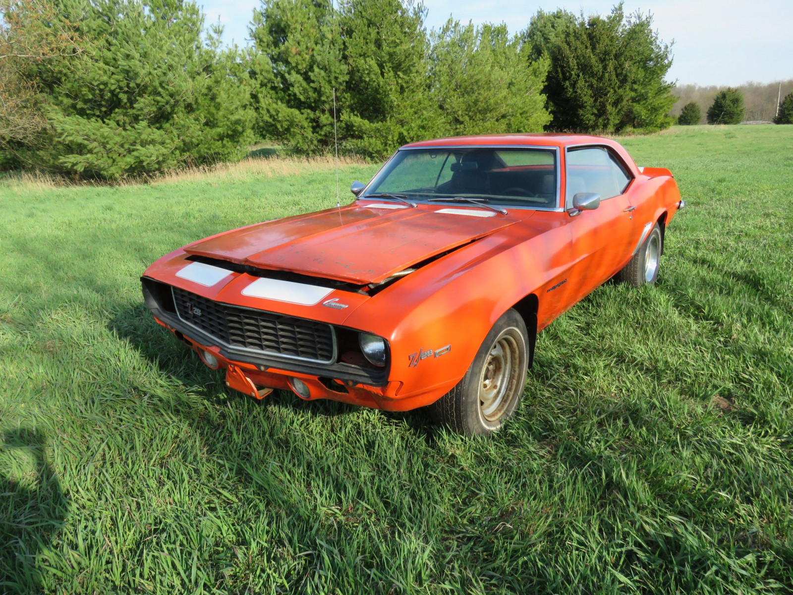 1969 Chevrolet Camaro Z/28 RS Coupe barn find orange