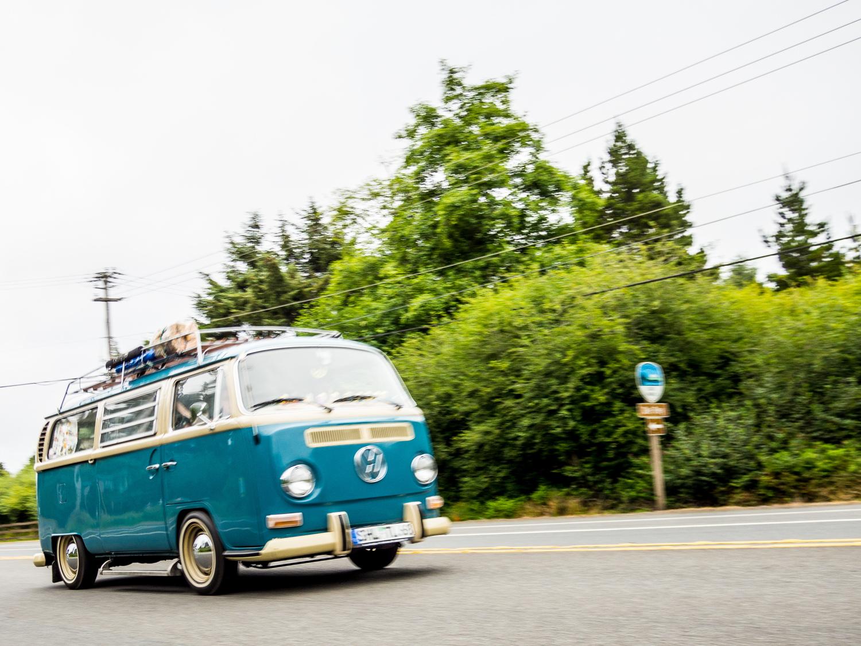 treffen vw bus micro bus blue and white
