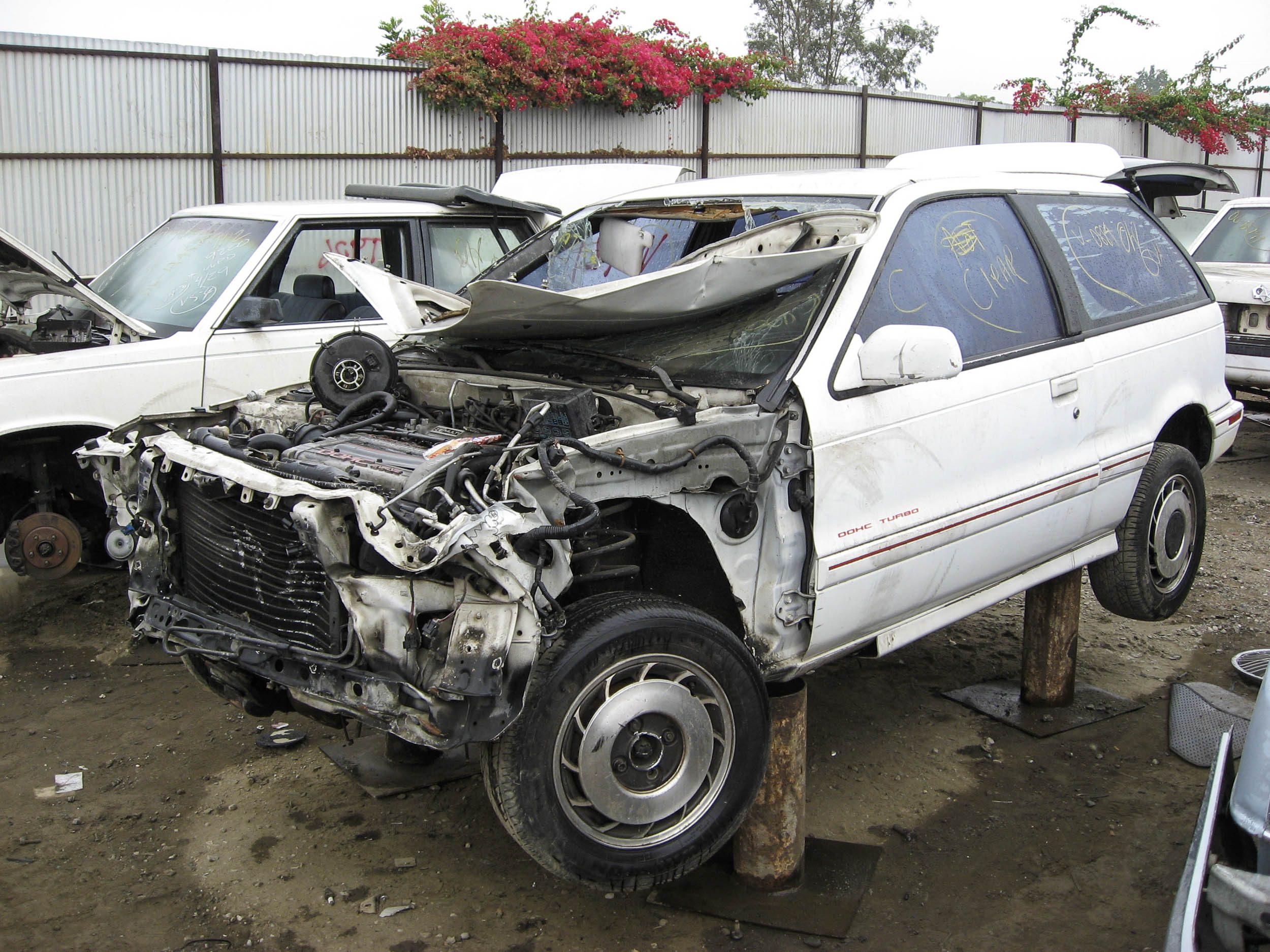 The self-service junkyard was the end of the line for this 1989 Dodge Colt turbo hatchback.